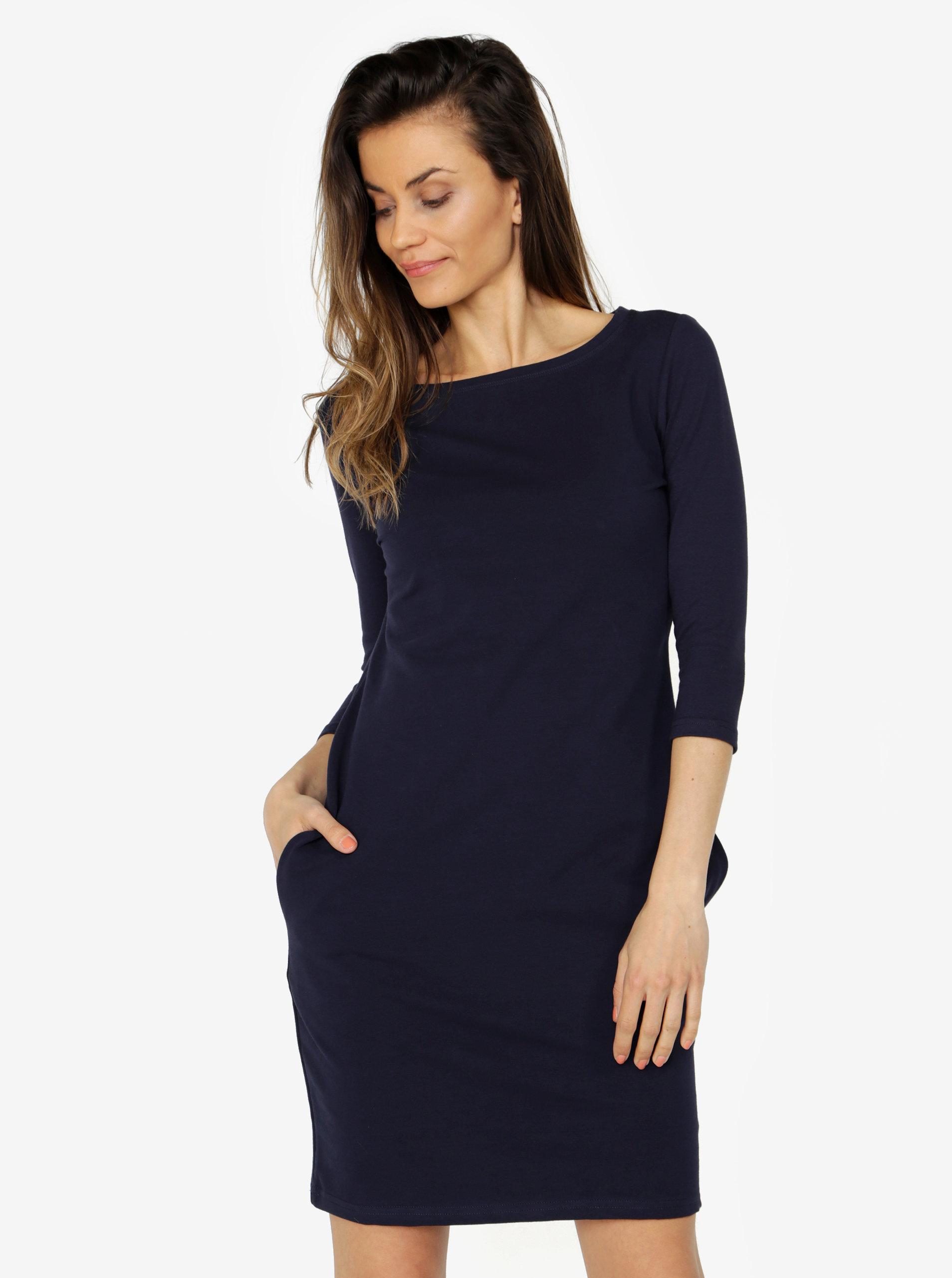 Tmavě modré šaty s 3 4 rukávem ZOOT ... 00c5209bf1b