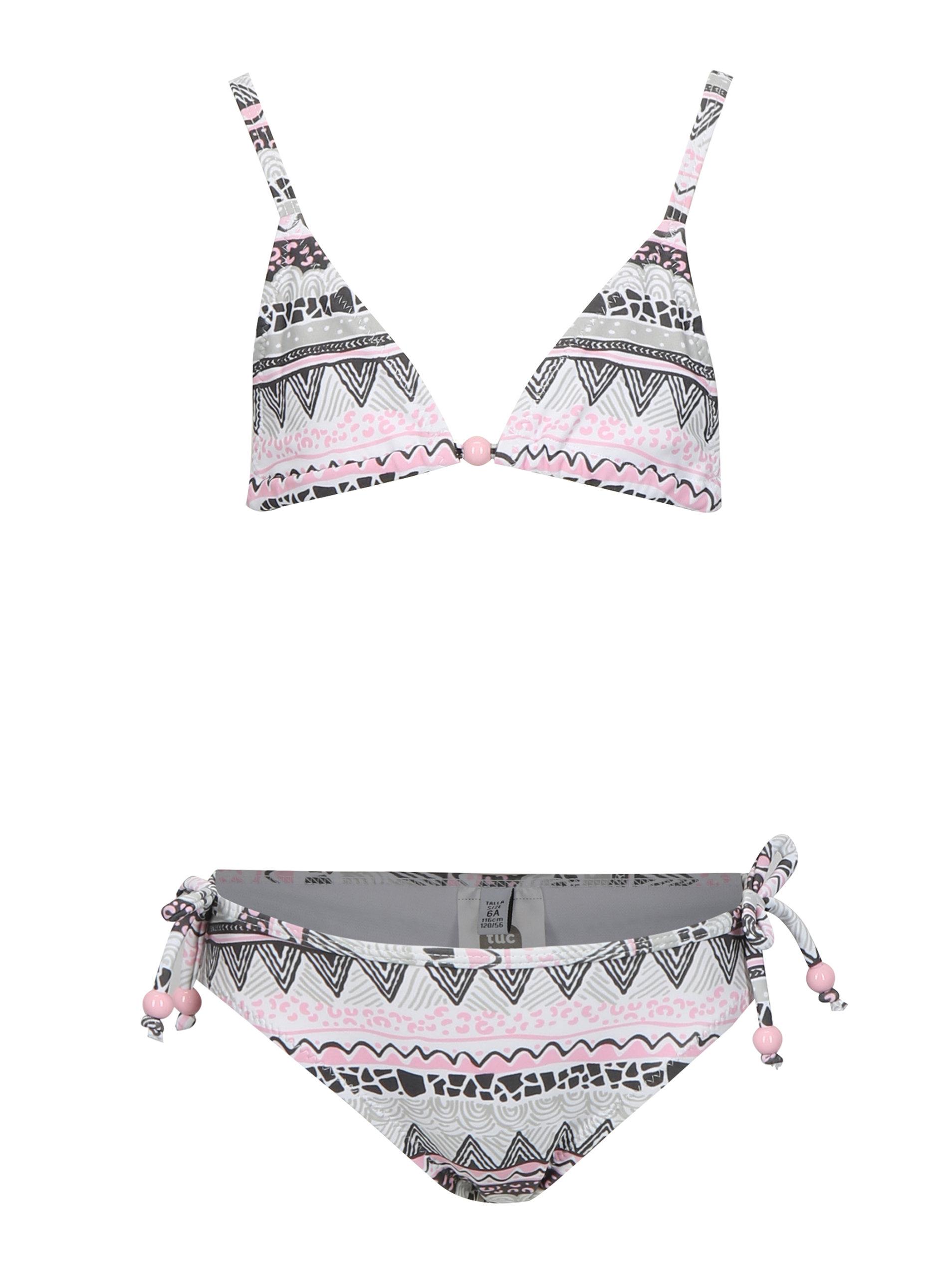 e374f831db Ružovo-krémové dievčenské dvojdielne plavky tuc tuc Printed ...