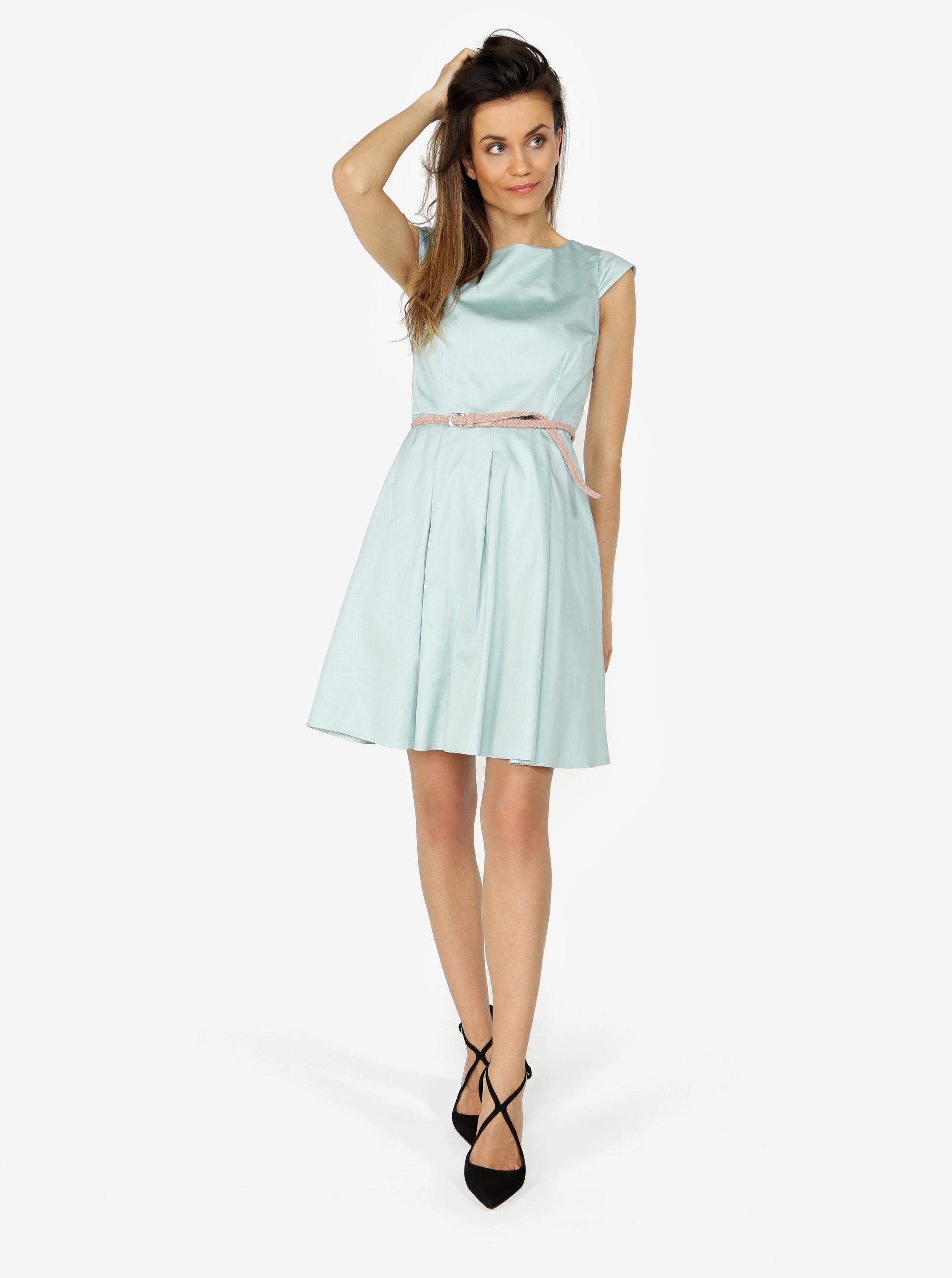 baa2338bdf5e Mentolové šaty s áčkovou sukní ZOOT ...