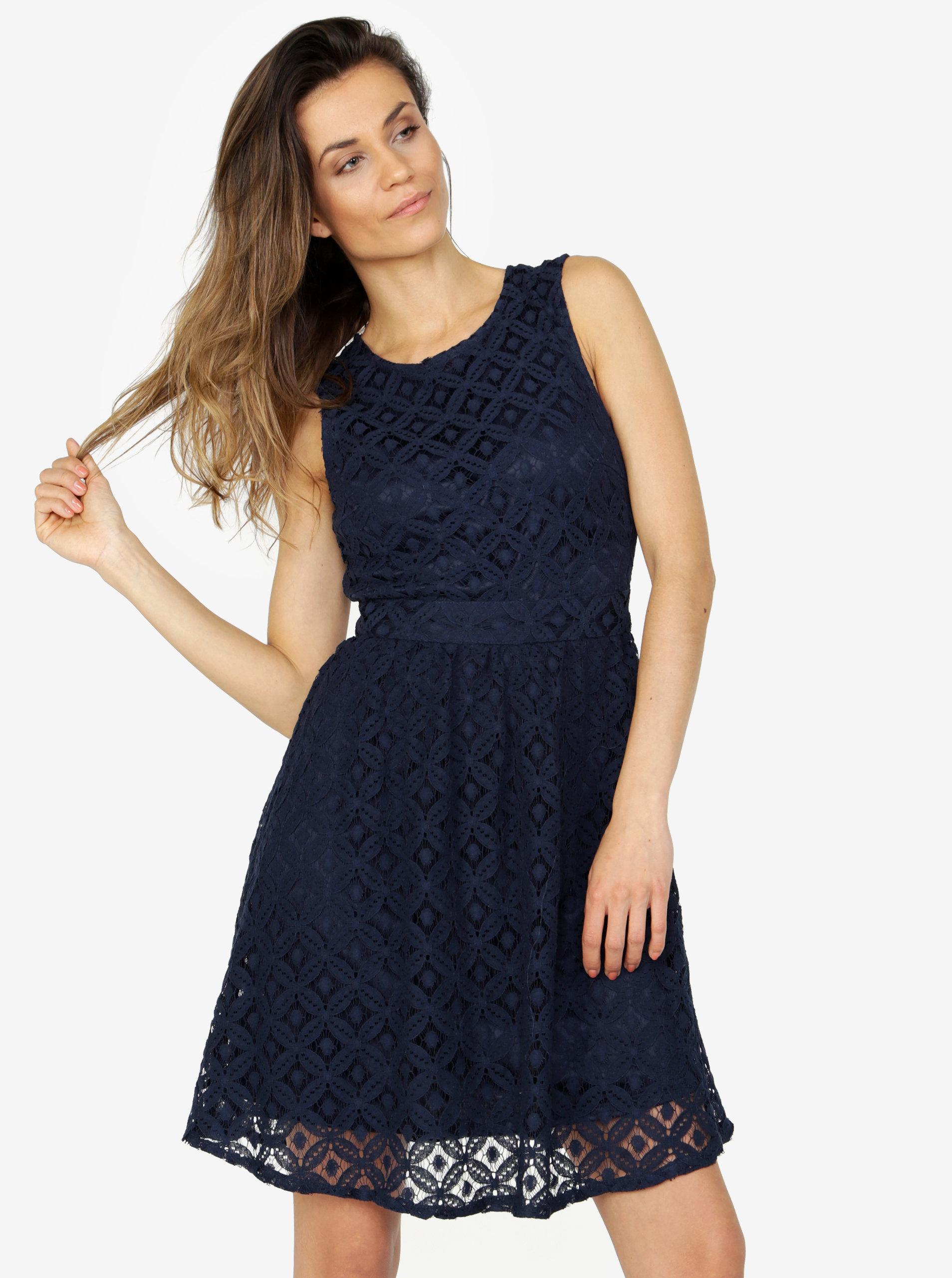 c11003bd4fb3 Tmavě modré krajkové šaty VERO MODA Simone ...