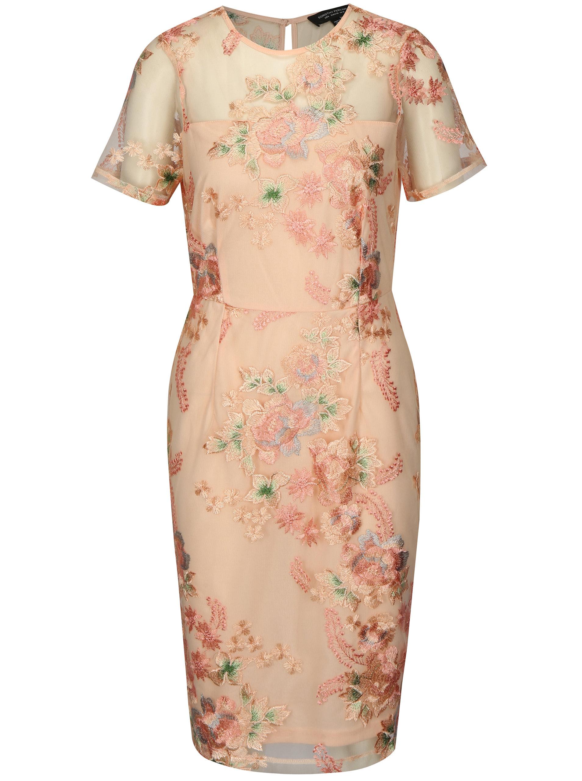 Růžové pouzdrové šaty s výšivkou Dorothy Perkins ... 443b153fad