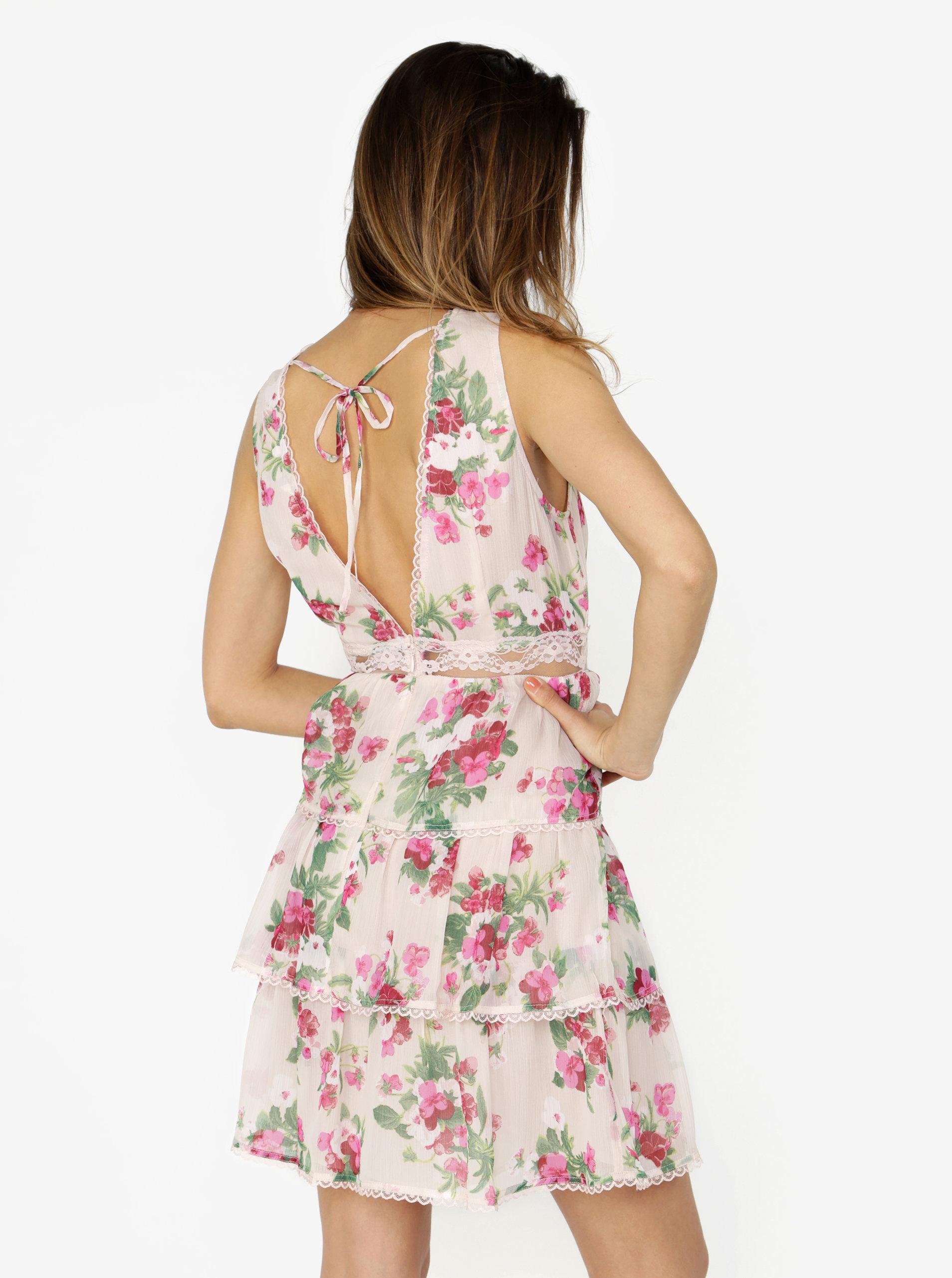 3f01c0422621 Ružové kvetované šaty s čipkou Miss Selfridge ...