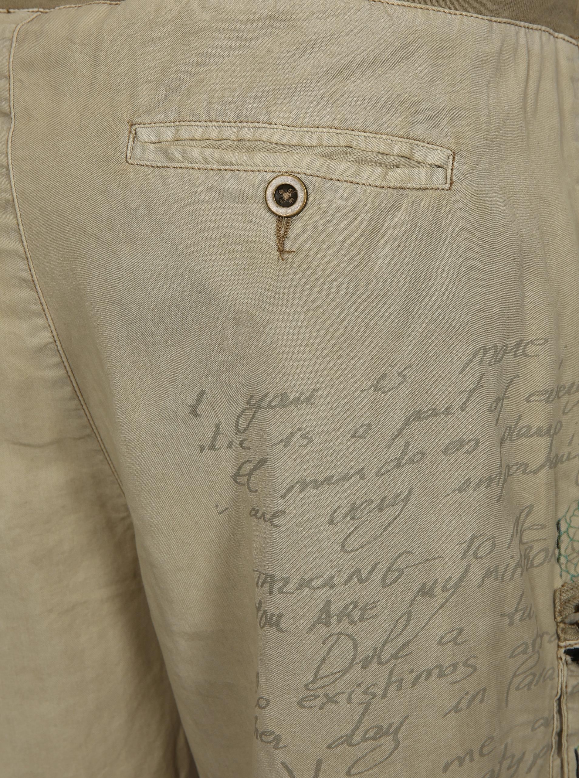 Béžové voľné nohavice s potlačou a výšivkou Desigual Eddy ... f9d54d1658a