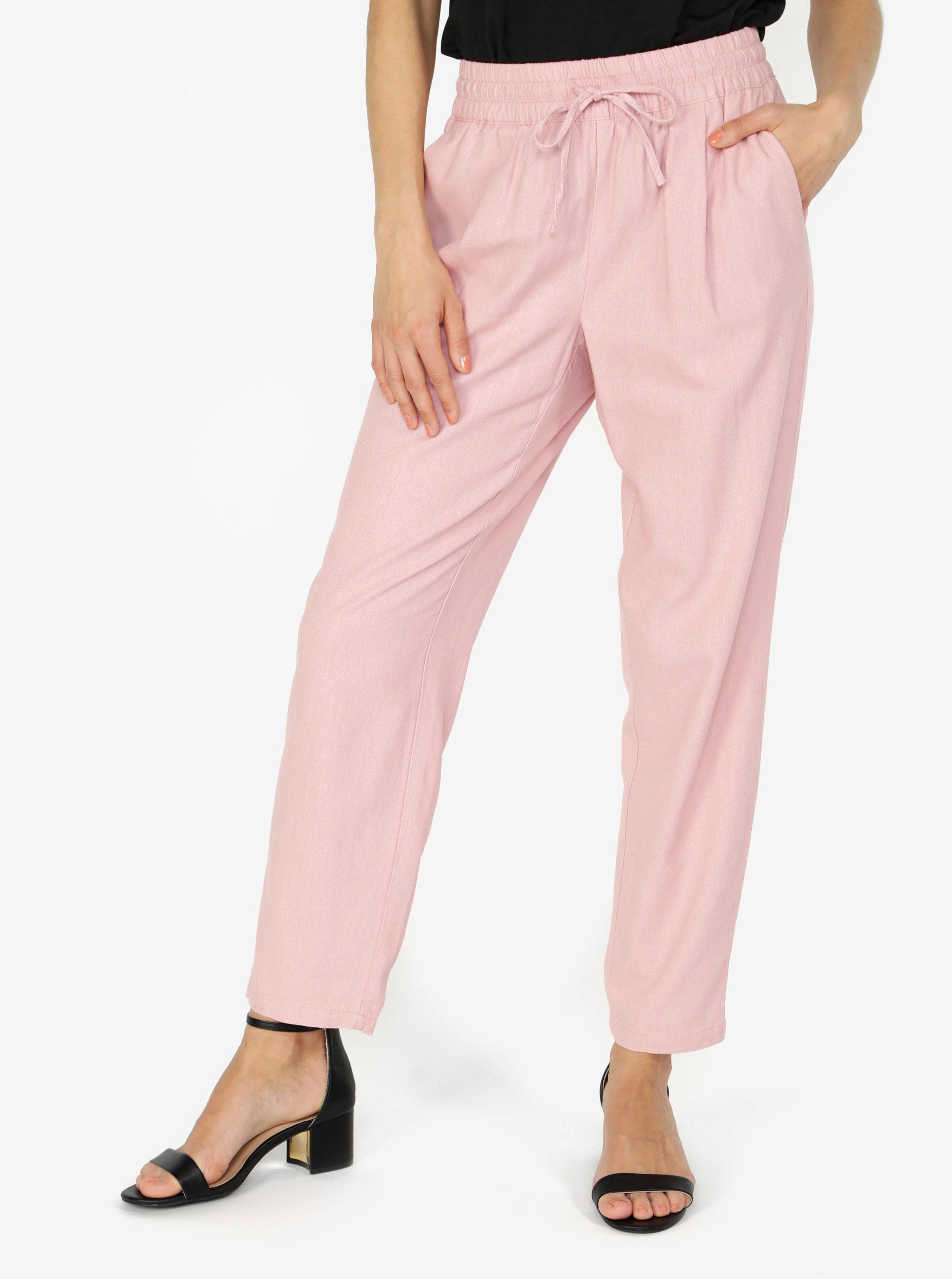 84df7e6a0c2 Růžové lněné kalhoty s kapsami VERO MODA Masta Milo ...