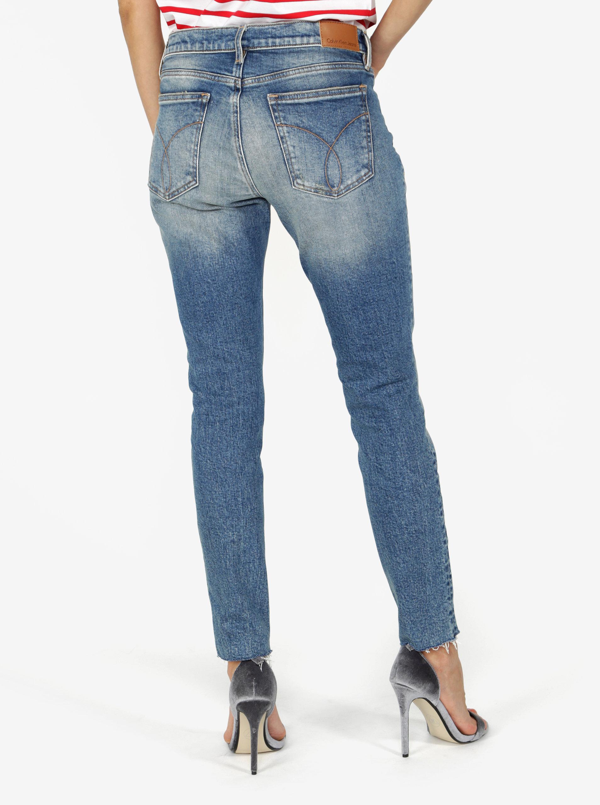 Modré dámské zkrácené skinny džíny s nízkým pasem Calvin Klein Jeans ... 4485c0c7d7