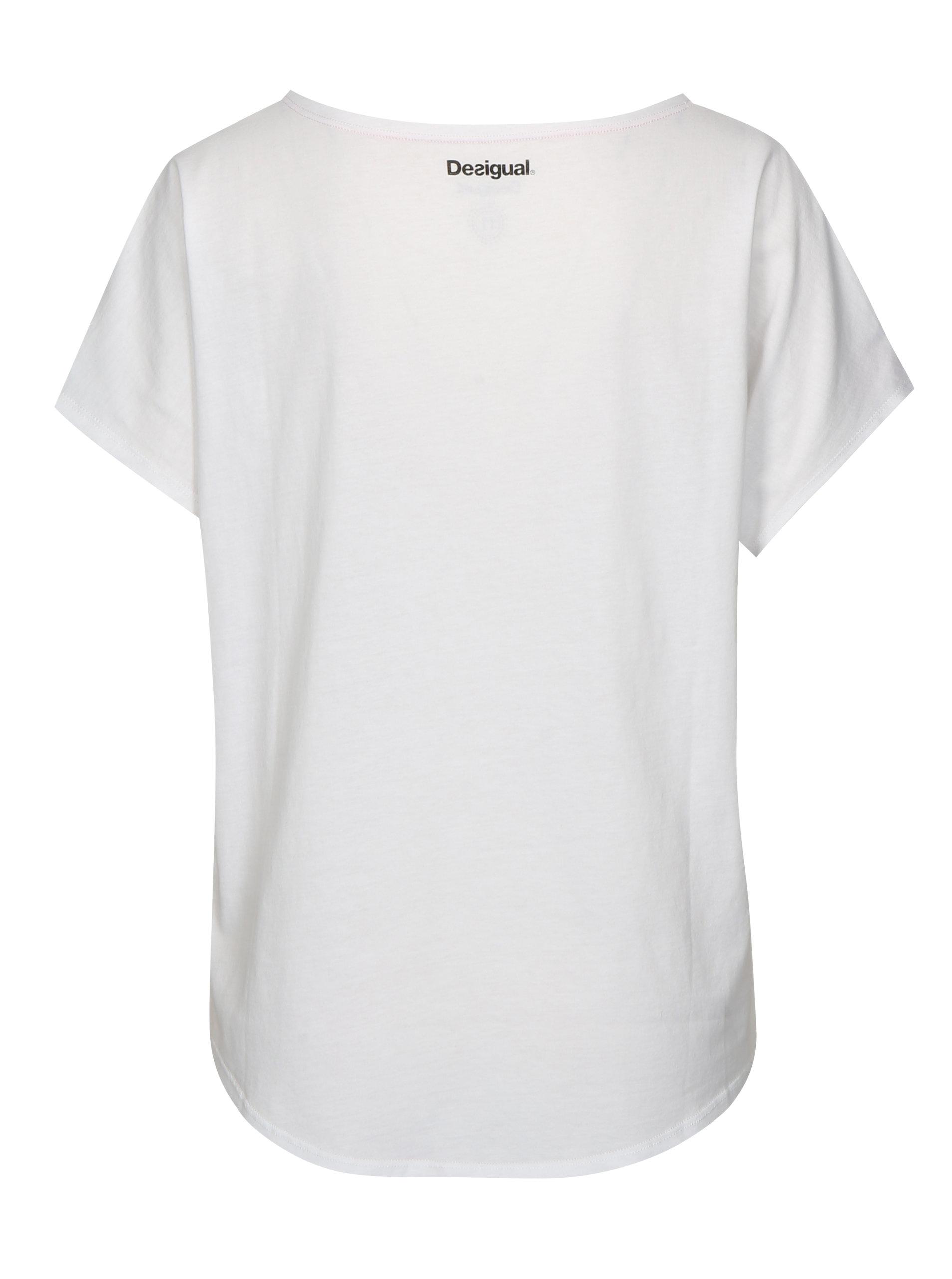 36cfb00b26 Biele tričko s kvetinovým vzorom Desigual Sport ...