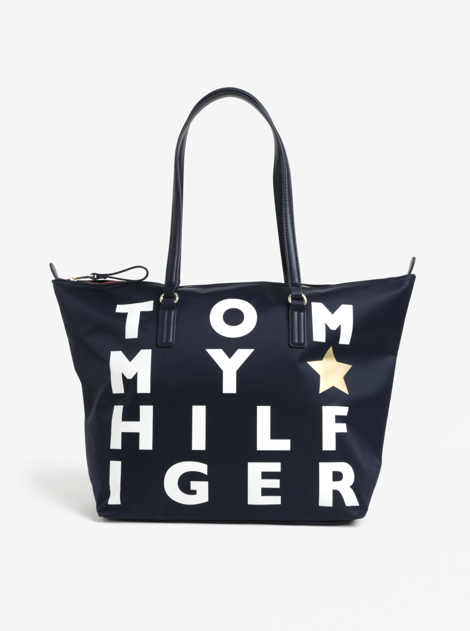 7afc6243fc Tmavě modrá dámská kabelka s potiskem Tommy Hilfiger ...