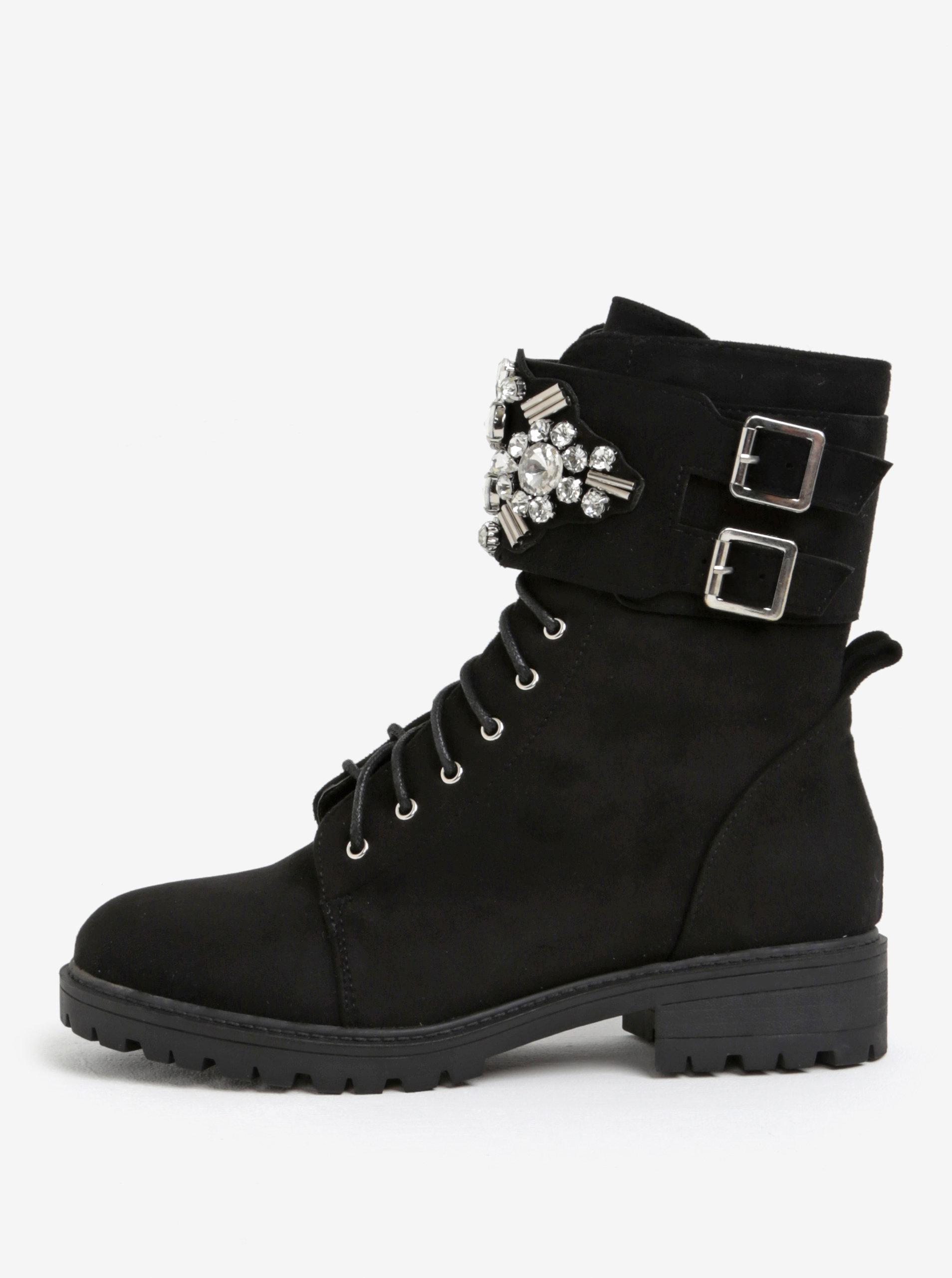 Černé kotníkové boty s ozdobami MISSGUIDED ... e2f9189634