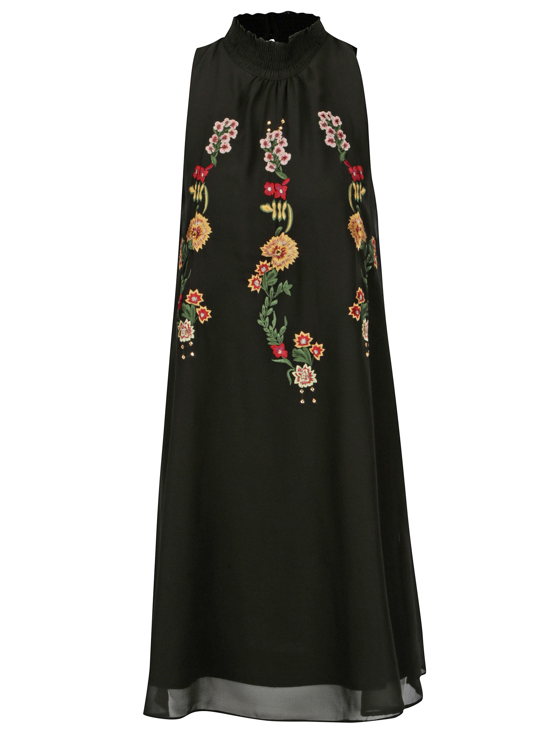 Čierne šaty so stojáčikom a kvetovanou výšivkou Desigual Angy ... 9b66ae2ef49
