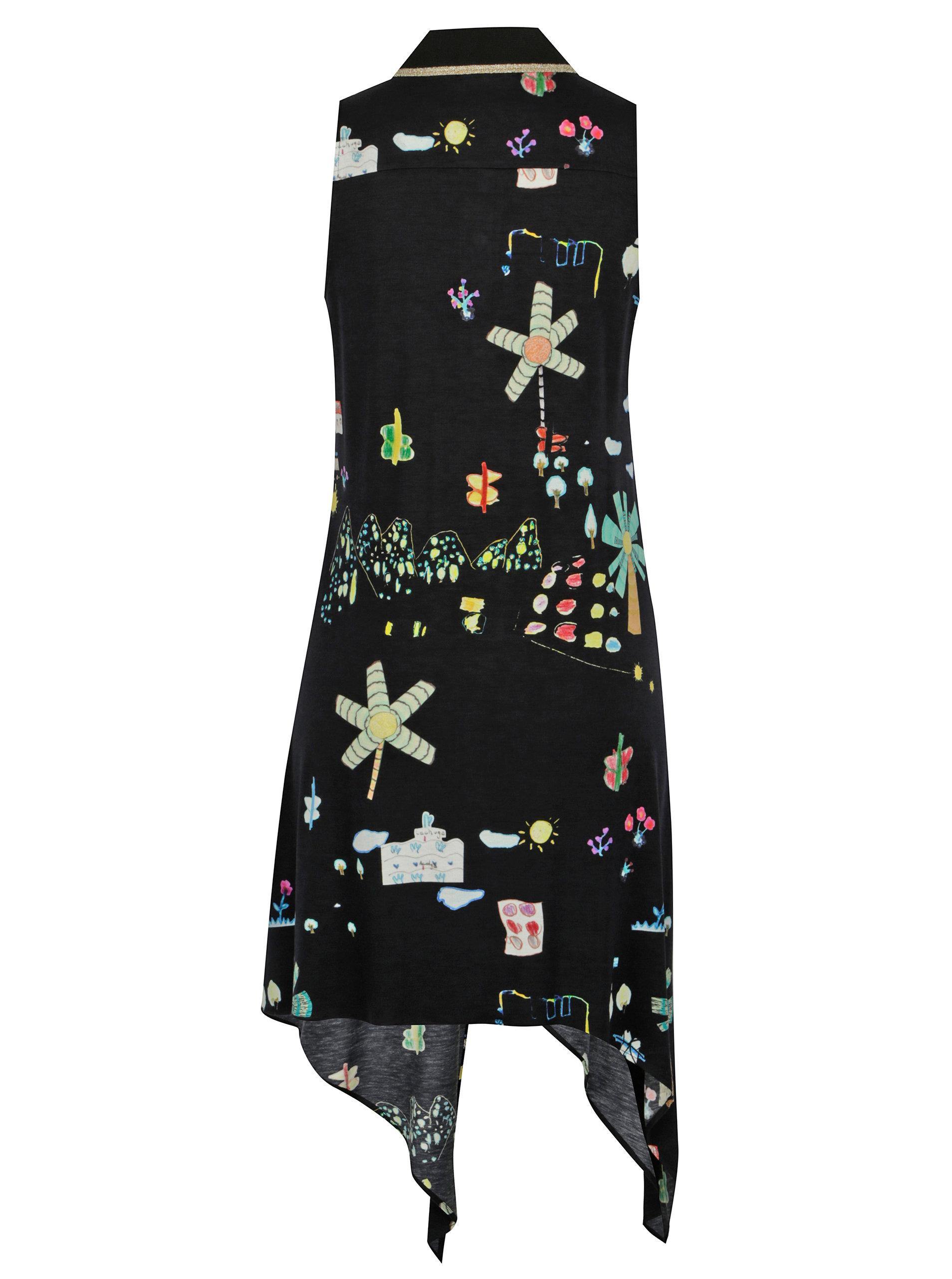 Černé vzorované šaty bez rukávů Desigual Mariona ... 68eb7b4dc8