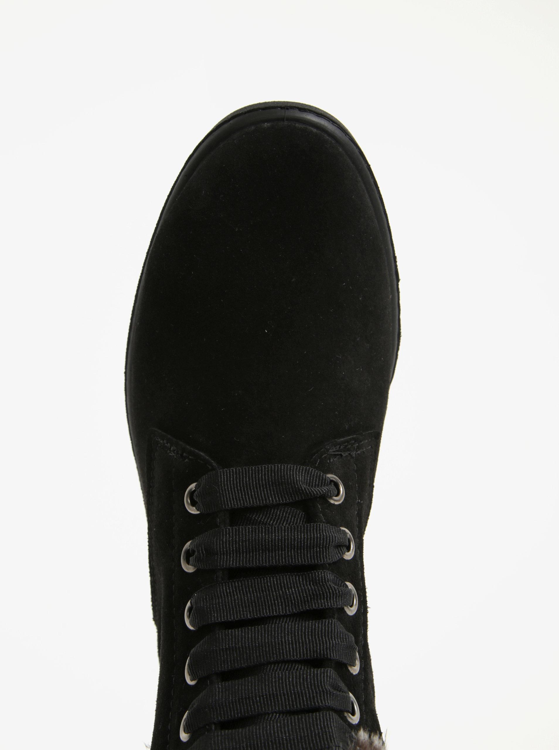 c747e9203c Čierne semišové členkové topánky s umelým kožúškom OJJU ...