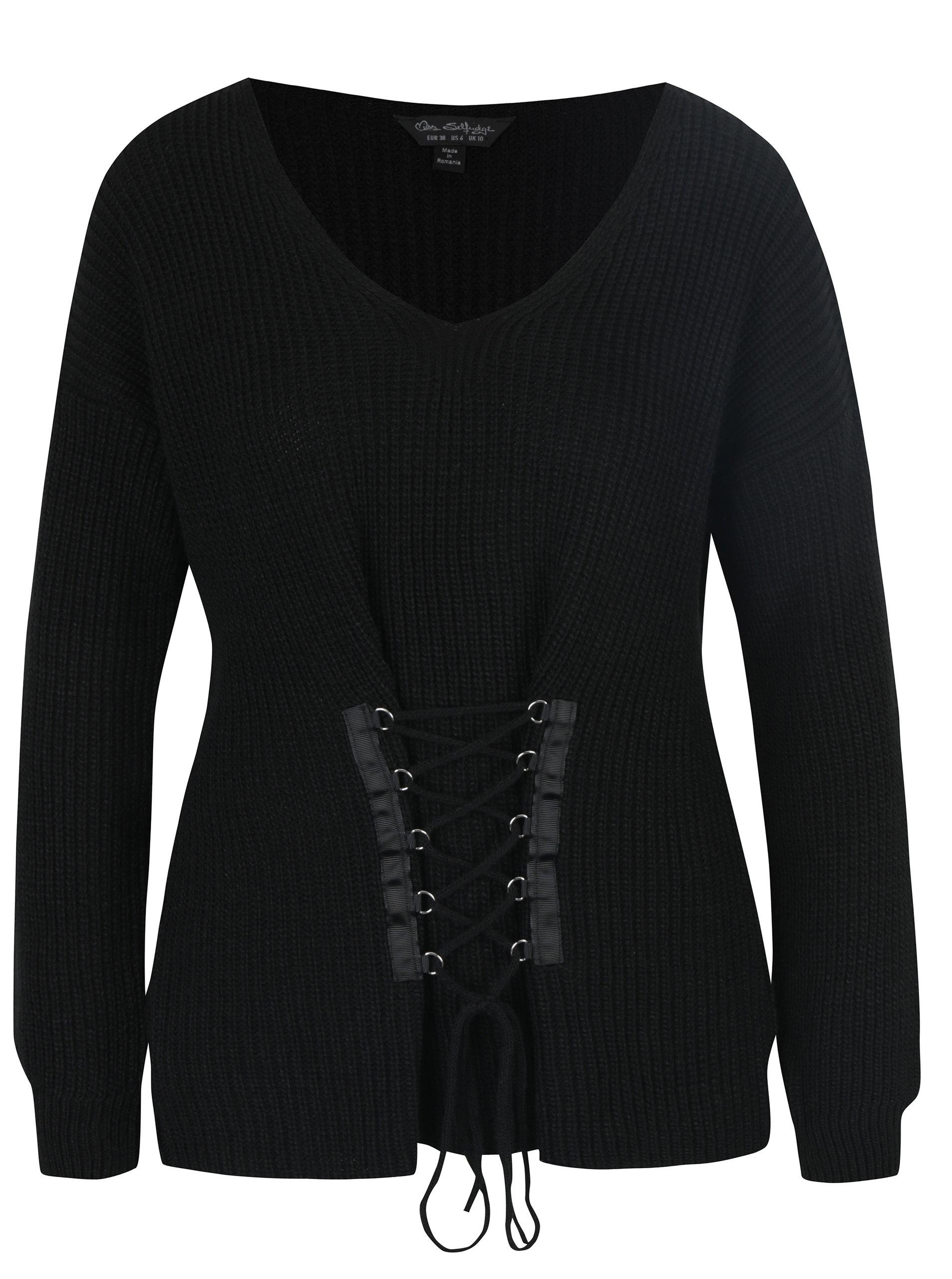4d648360096f Čierny sveter so šnurovaním Miss Selfridge ...