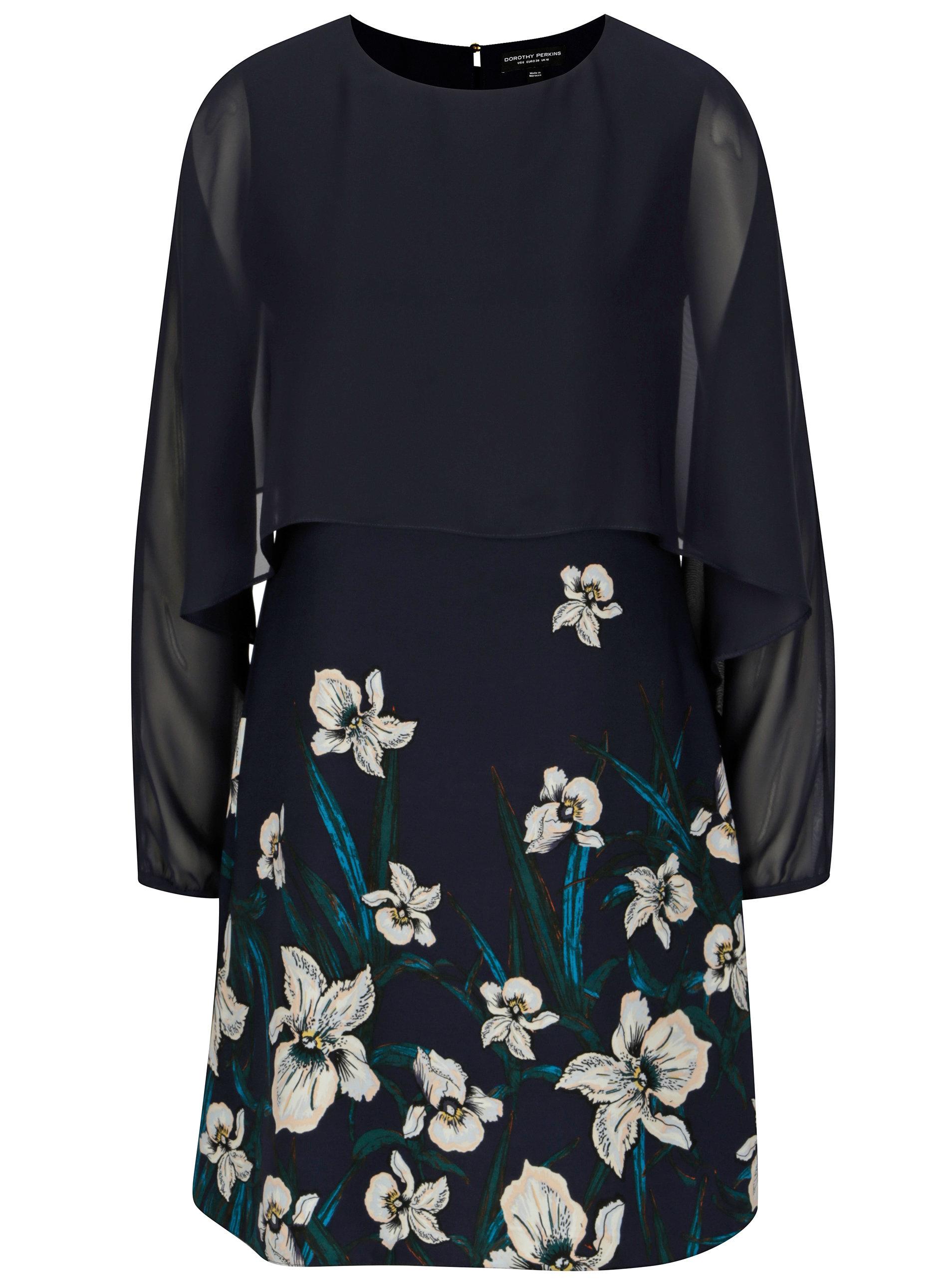 16f01b8c44 Tmavomodré kvetované šaty s dlhým rukávom Dorothy Perkins ...