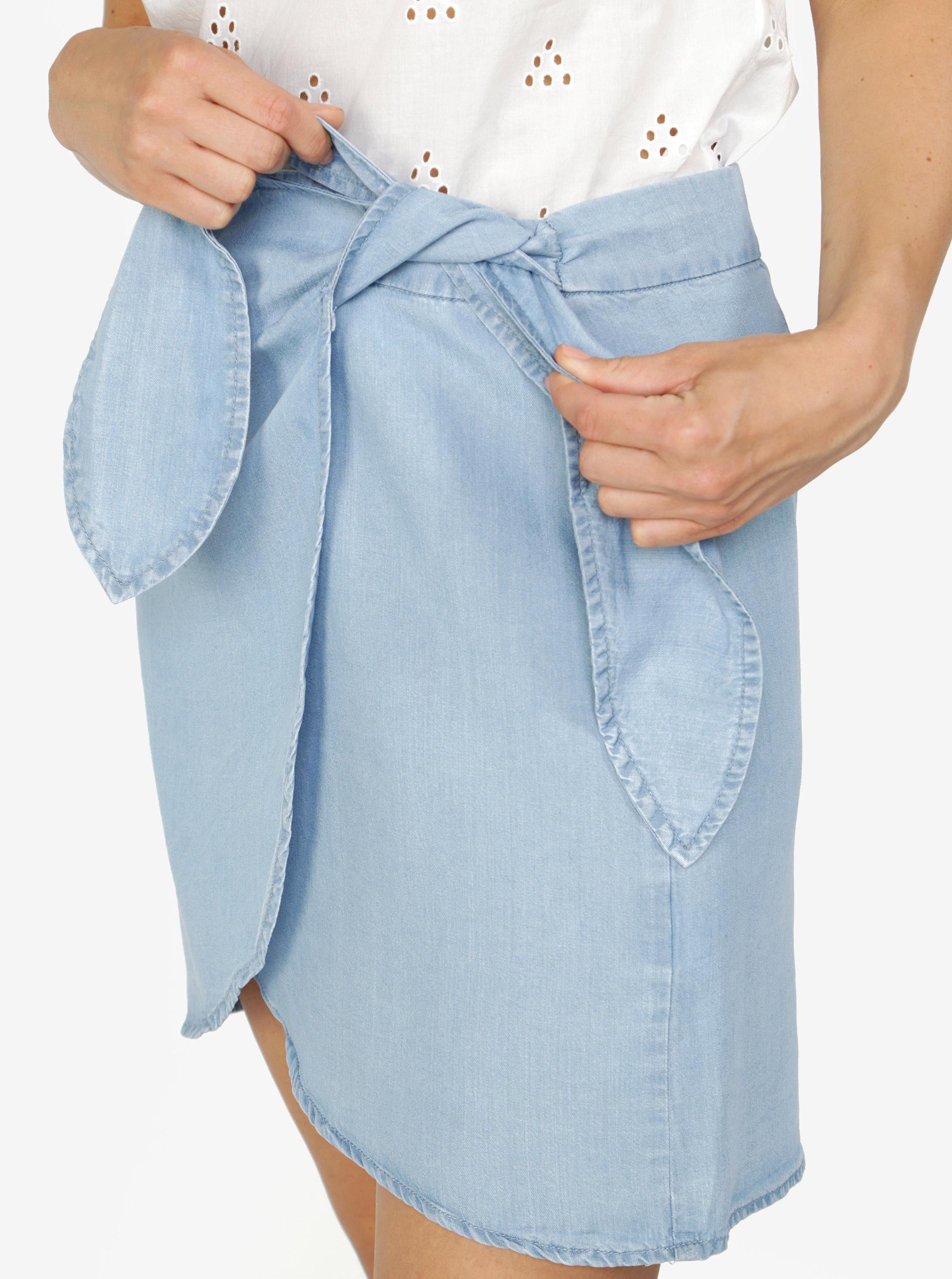 a6f5aa1e5c7 Světe modrá zavinovací sukně VERO MODA Zuri ...