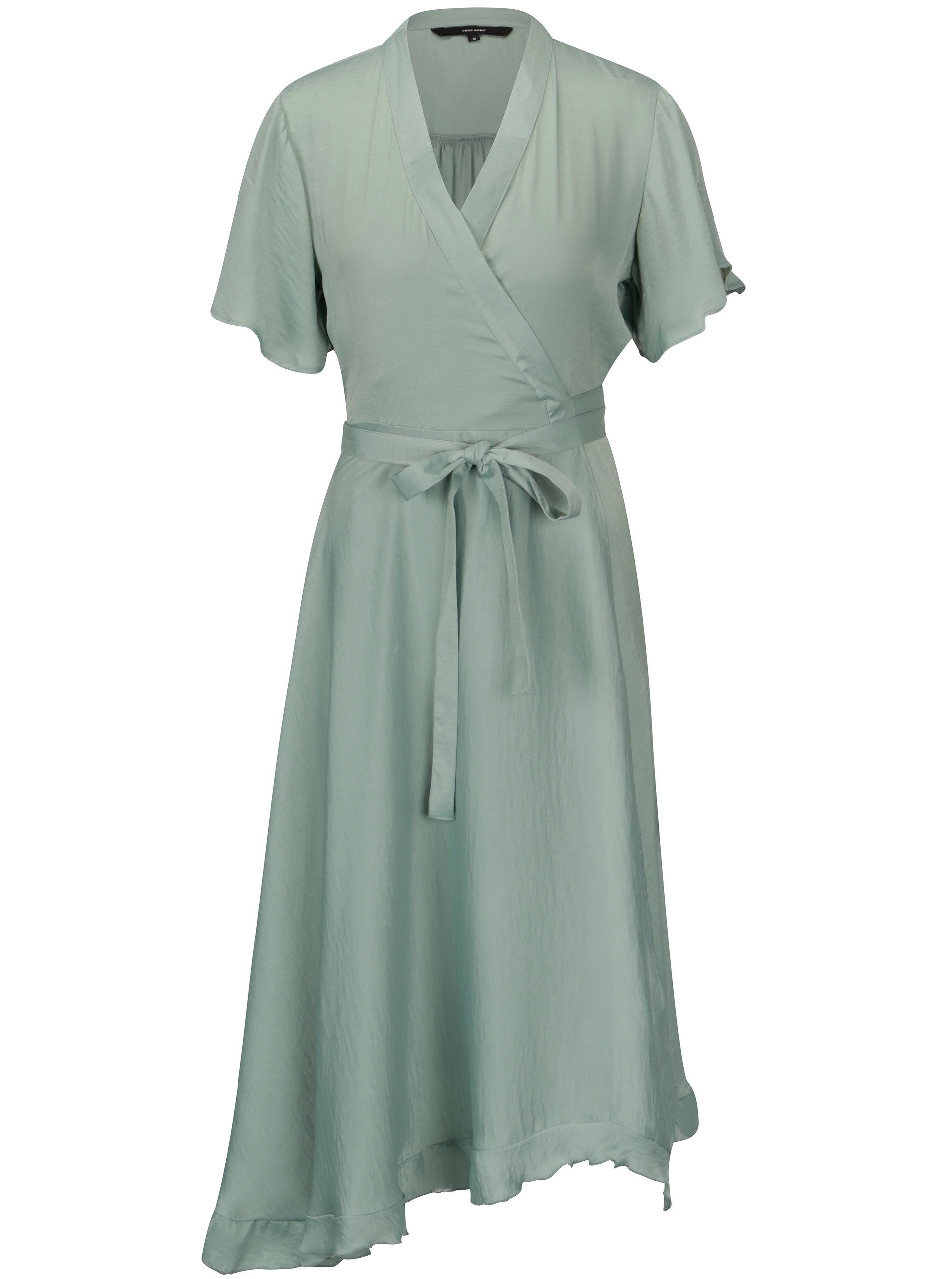 Svetlozelené asymetrické zavinovacie šaty VERO MODA Alanna ... b0b6961a4ac