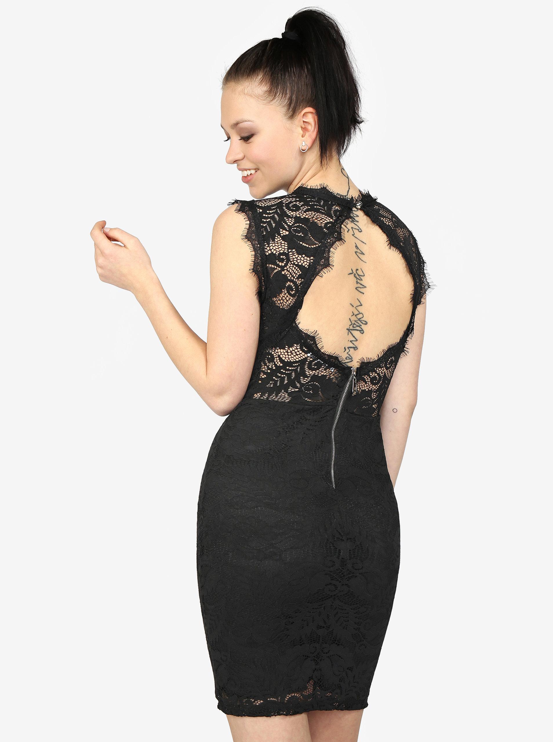 Černé krajkové šaty s průstřihem na zádech Haily s Ruby ... 8508a8a606