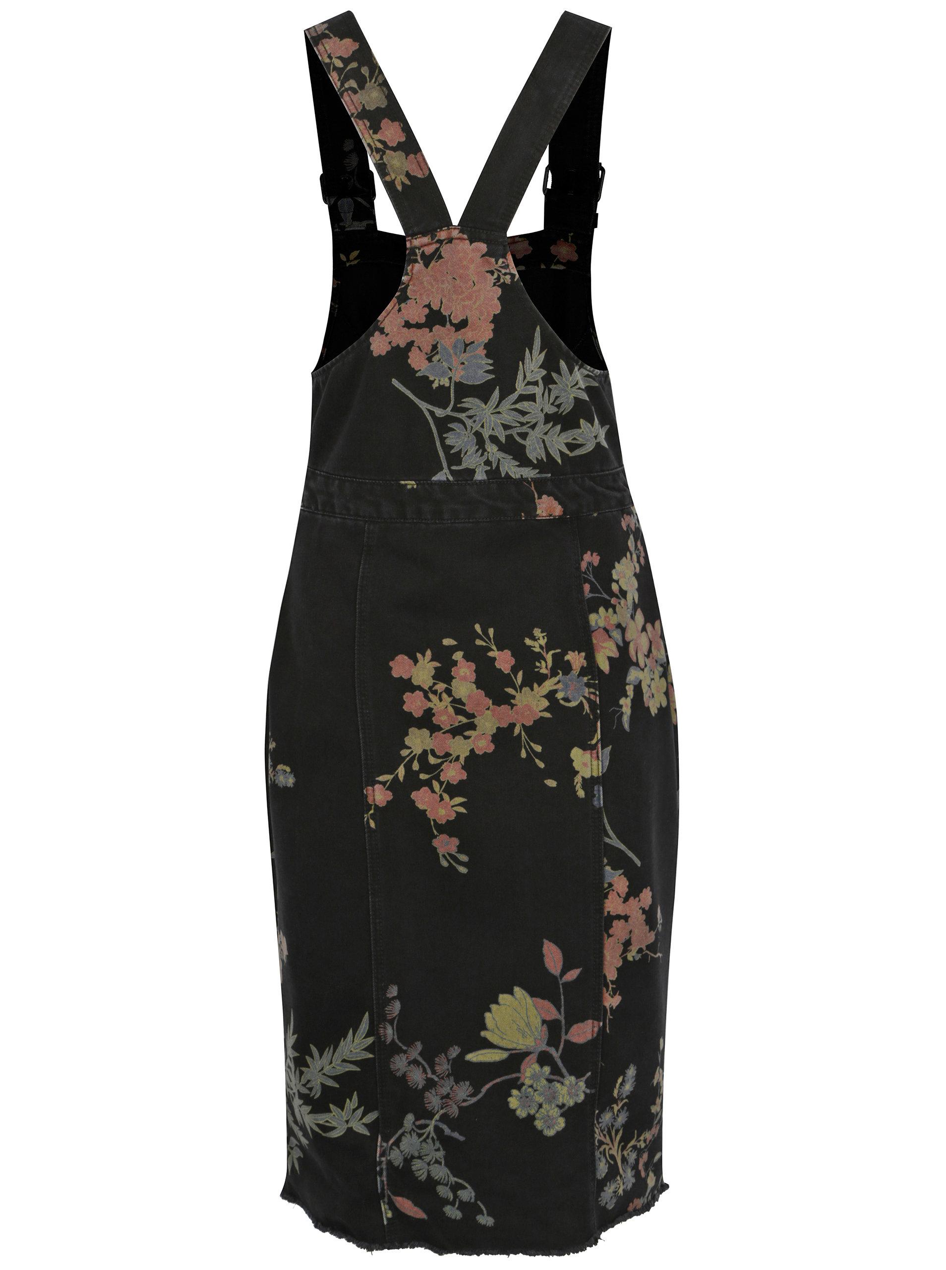 26bfffa5d086 Černé květované džínové šaty s laclem Noisy May Jenny ...