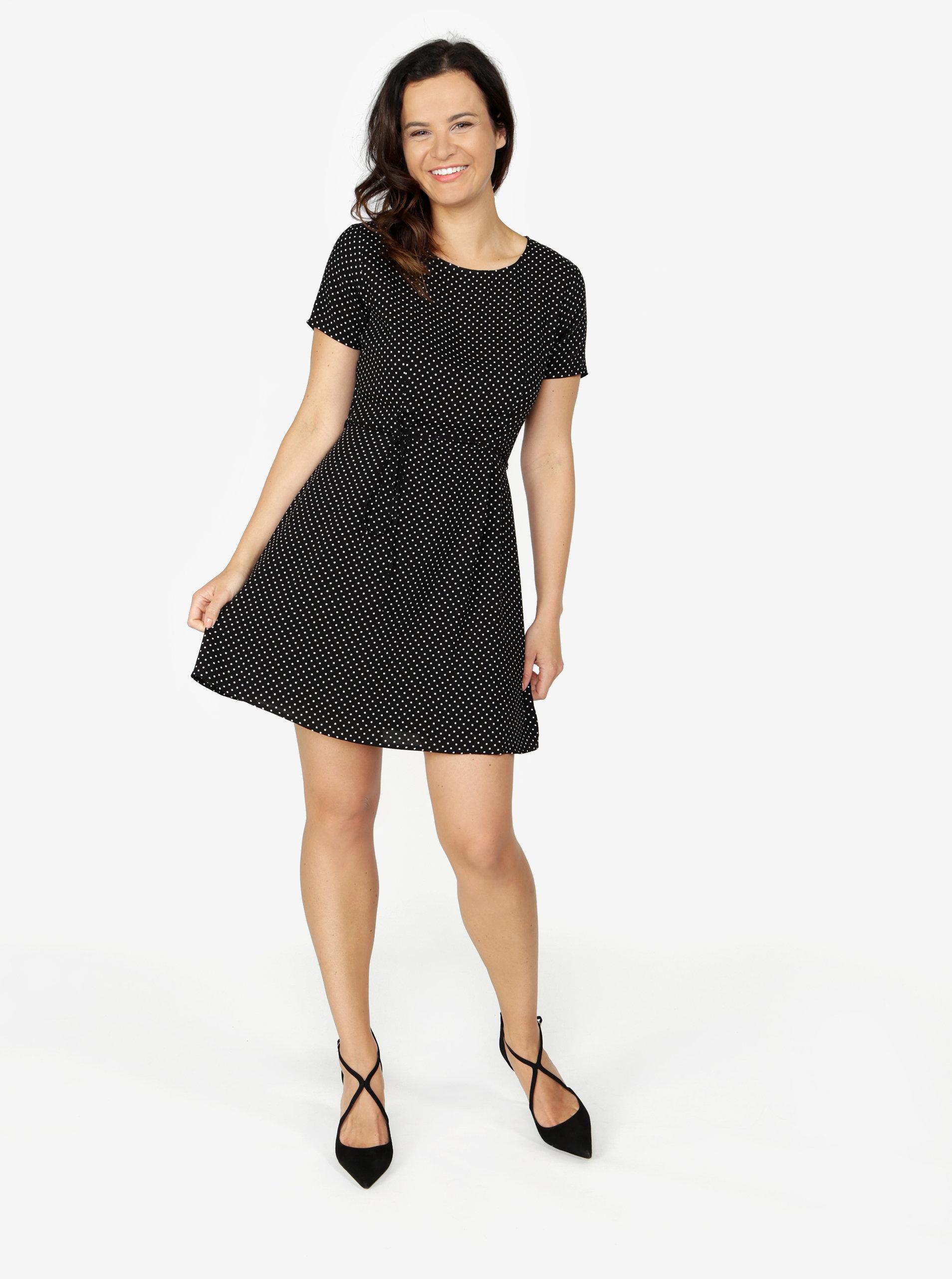 65bb0e7f8 Čierne bodkované šaty ONLY Laura ...