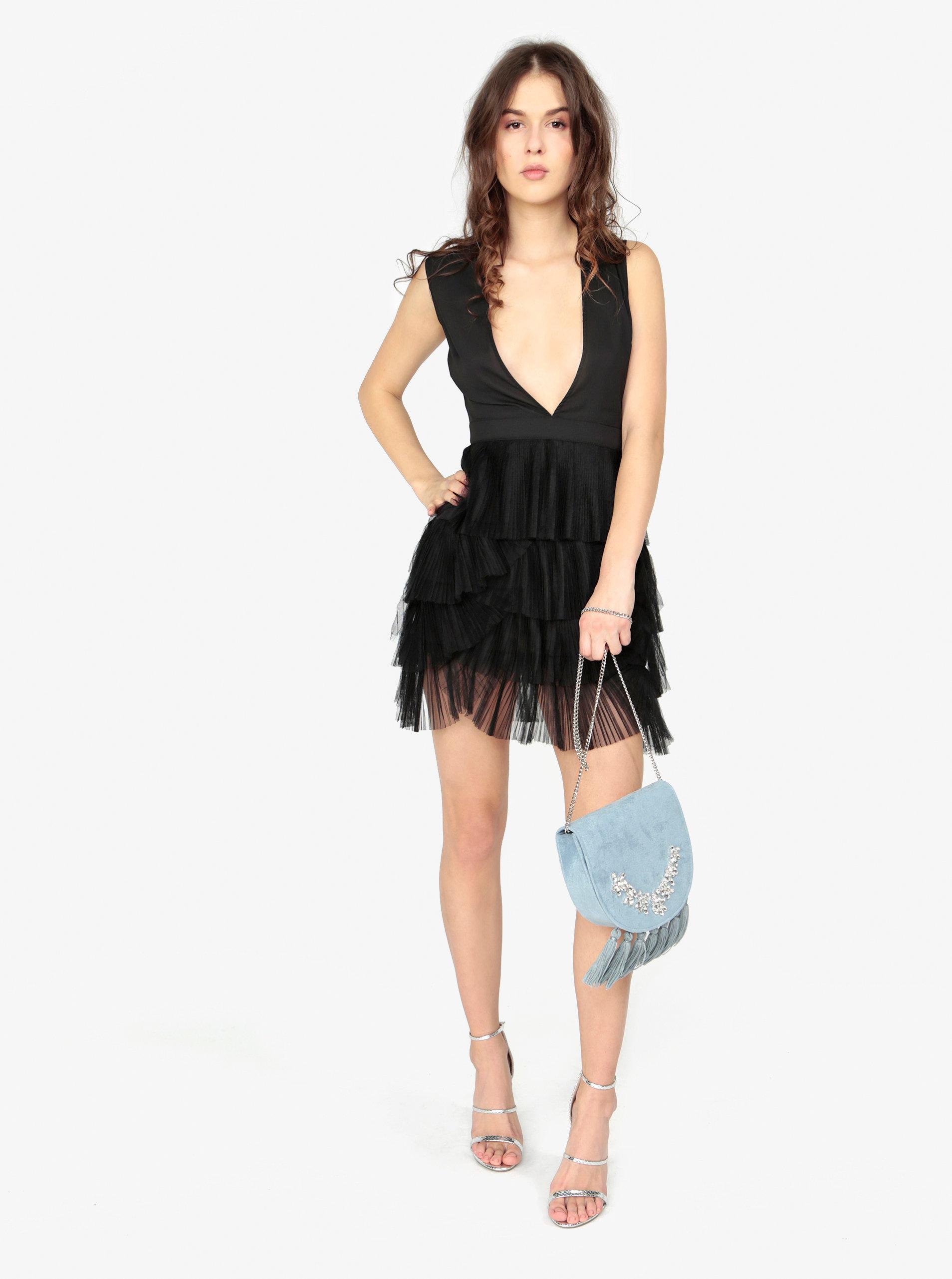 Černé šaty s véčkovým výstřihem MISSGUIDED ... 4ec7e787e1
