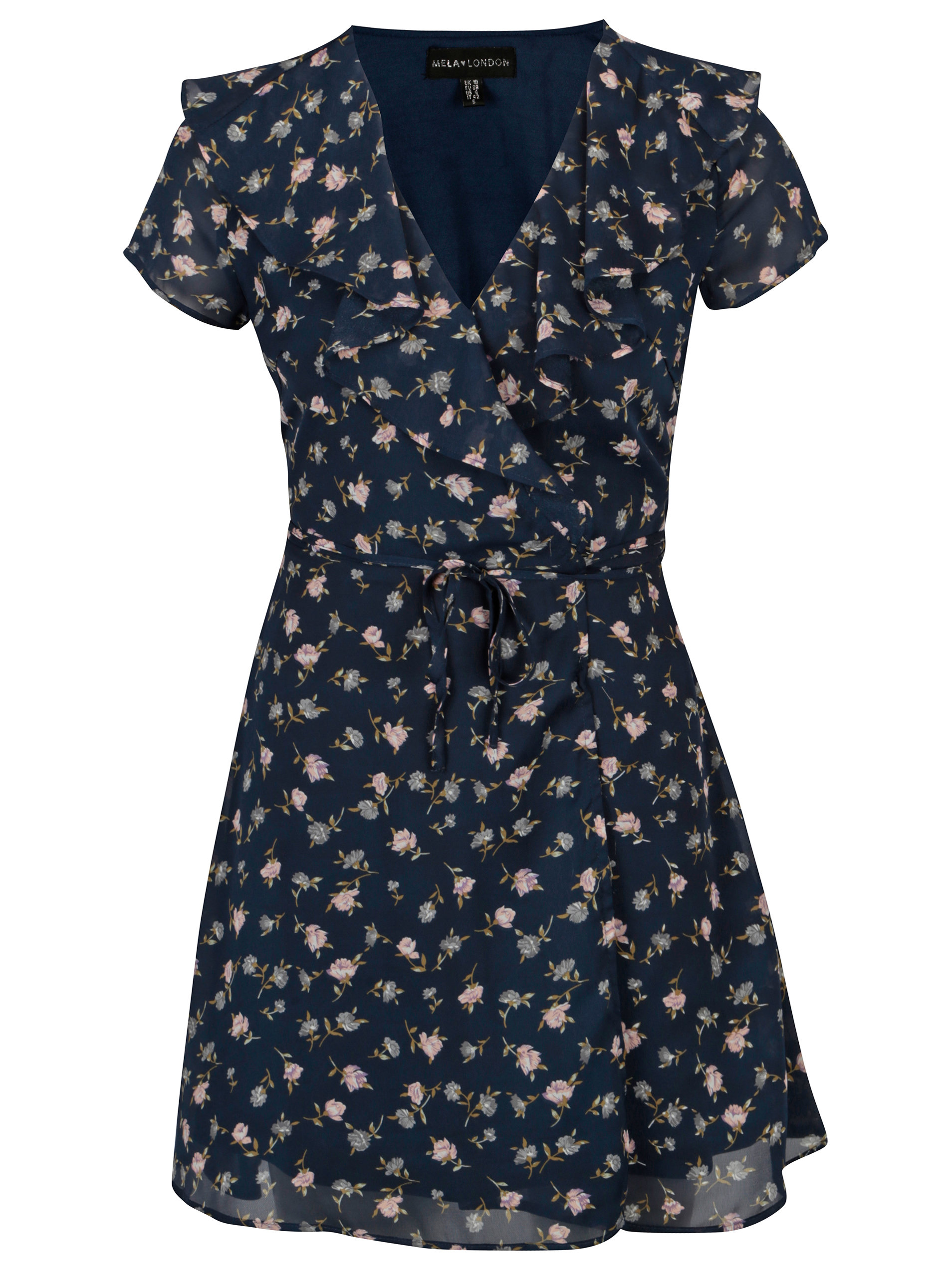Tmavě modré květované zavinovací šaty Mela London ... 4599cef74e1