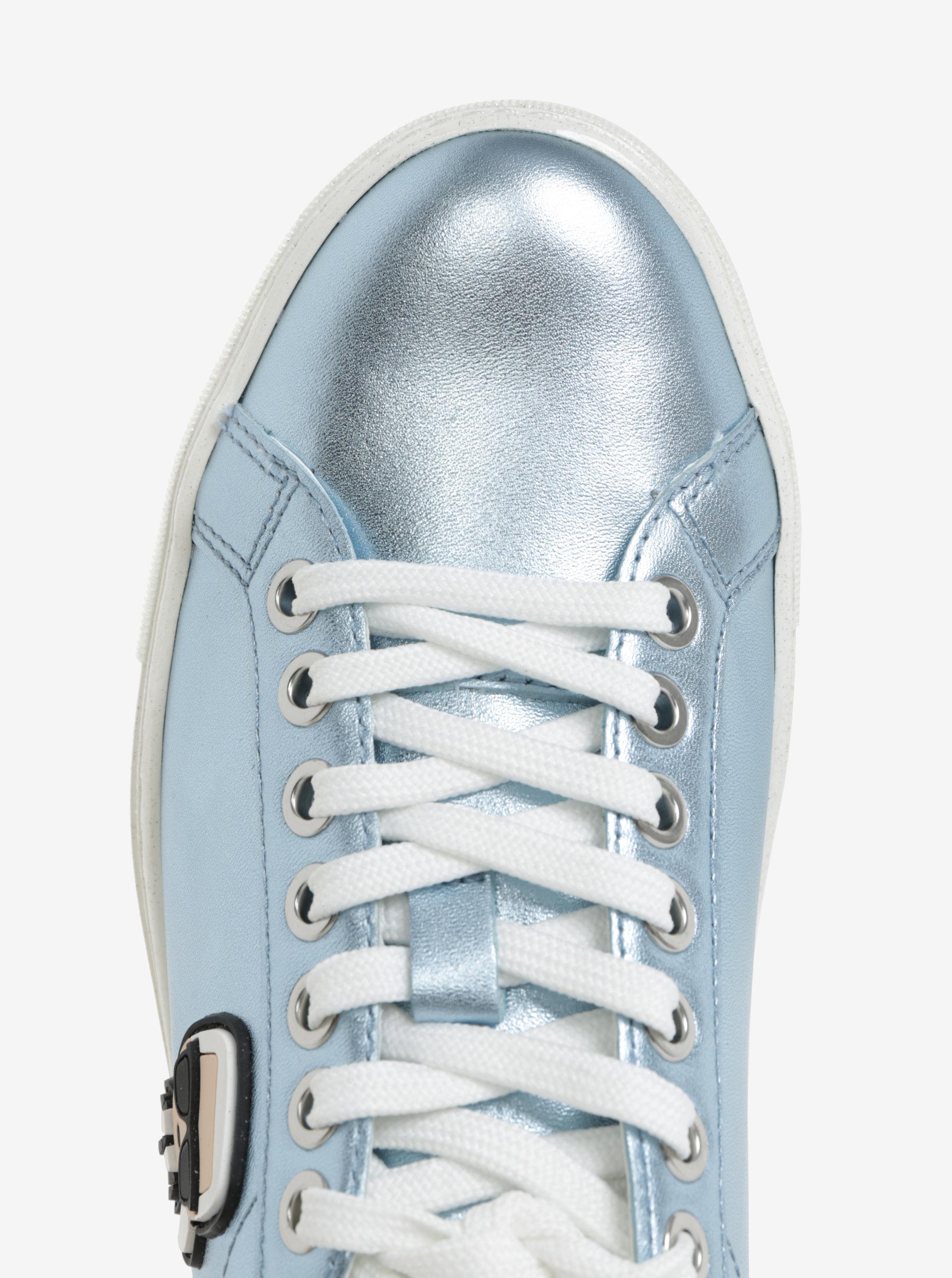 e2aed54fa5779 Modré metalické kožené tenisky s nášivkou KARL LAGERFELD Kupsole ...