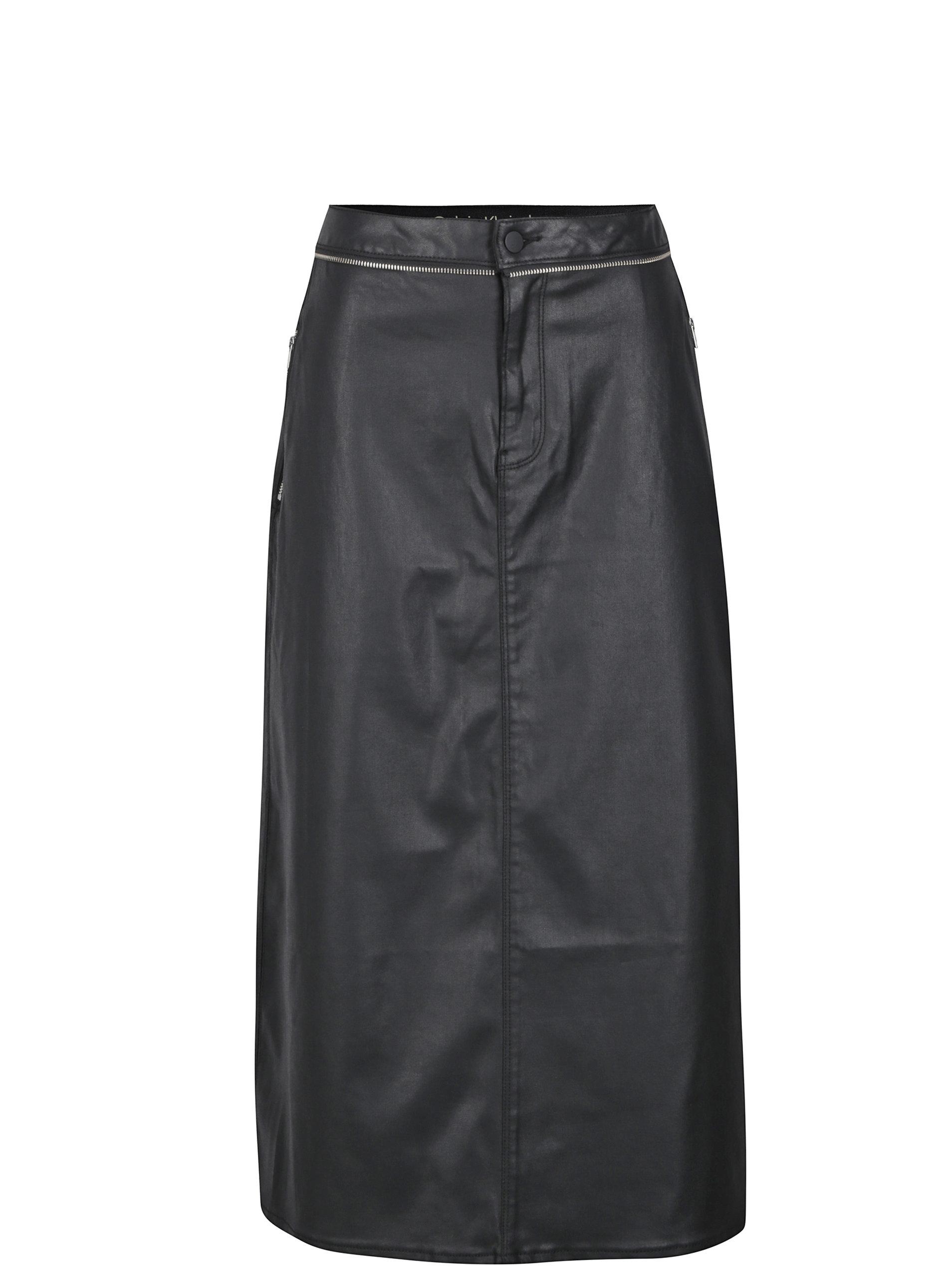 cf112cc74c46 Čierna dámska koženková midi sukňa Calvin Klein Jeans ...