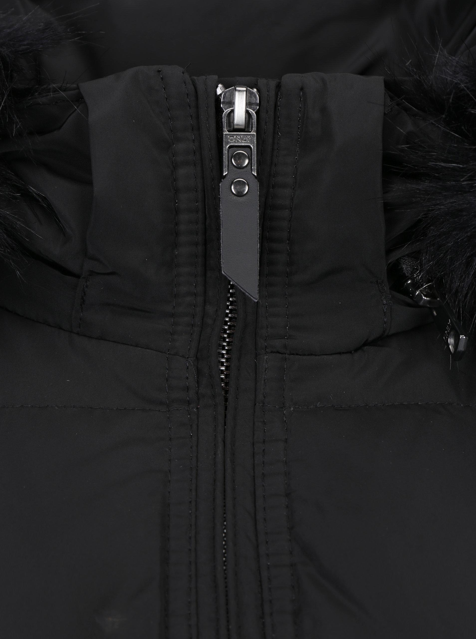Čierny páperový prešívaný kabát s kapucňou ONLY Rhoda ... a8b00c79a7a