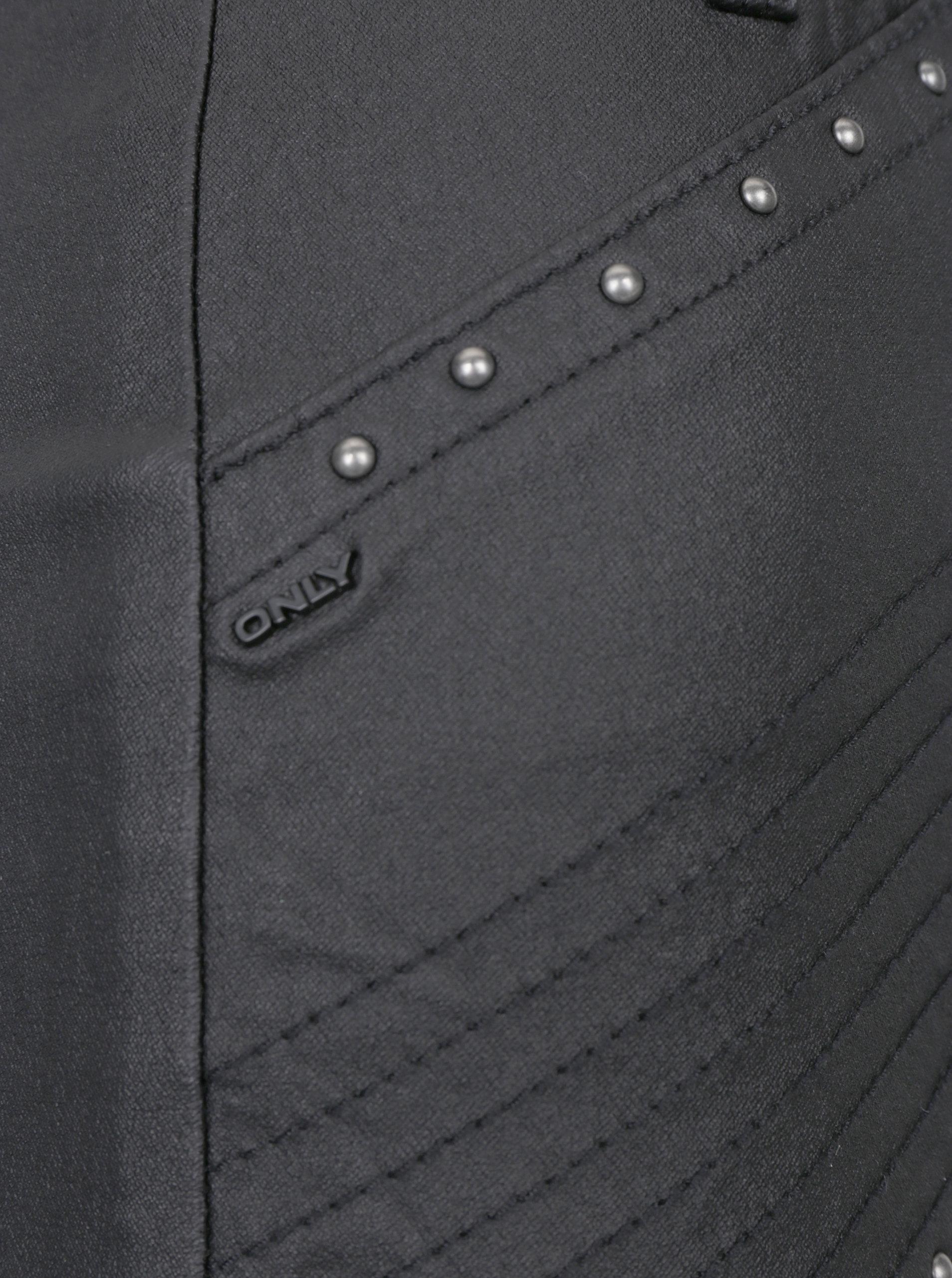 3fde5586fa0c Čierna koženková sukňa s ozdobnými plastickými detailmi ONLY Tough Rock ...