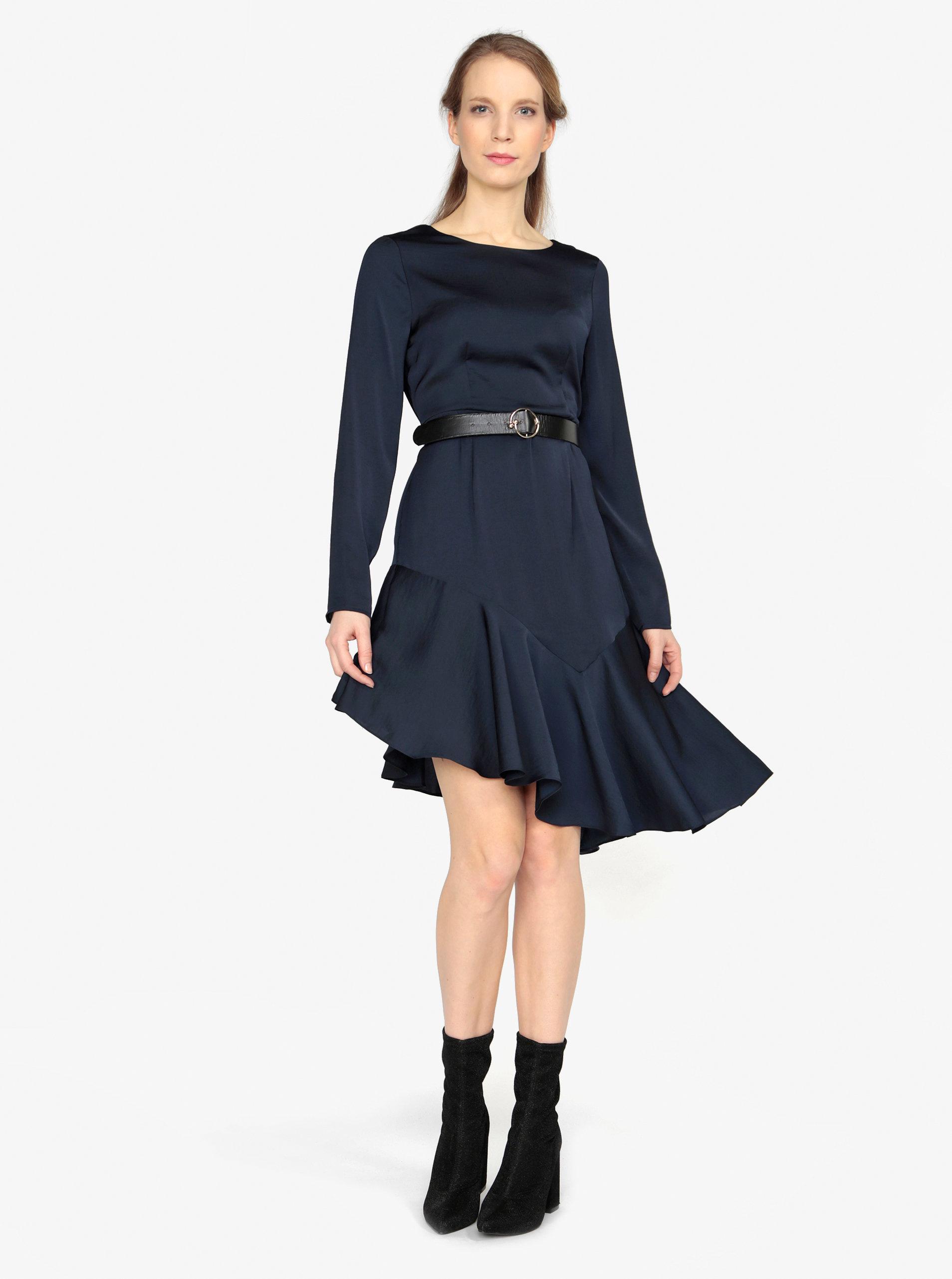 7d44b48dabe Tmavomodré asymetrické šaty s dlhým rukávom VERO MODA Elsa ...