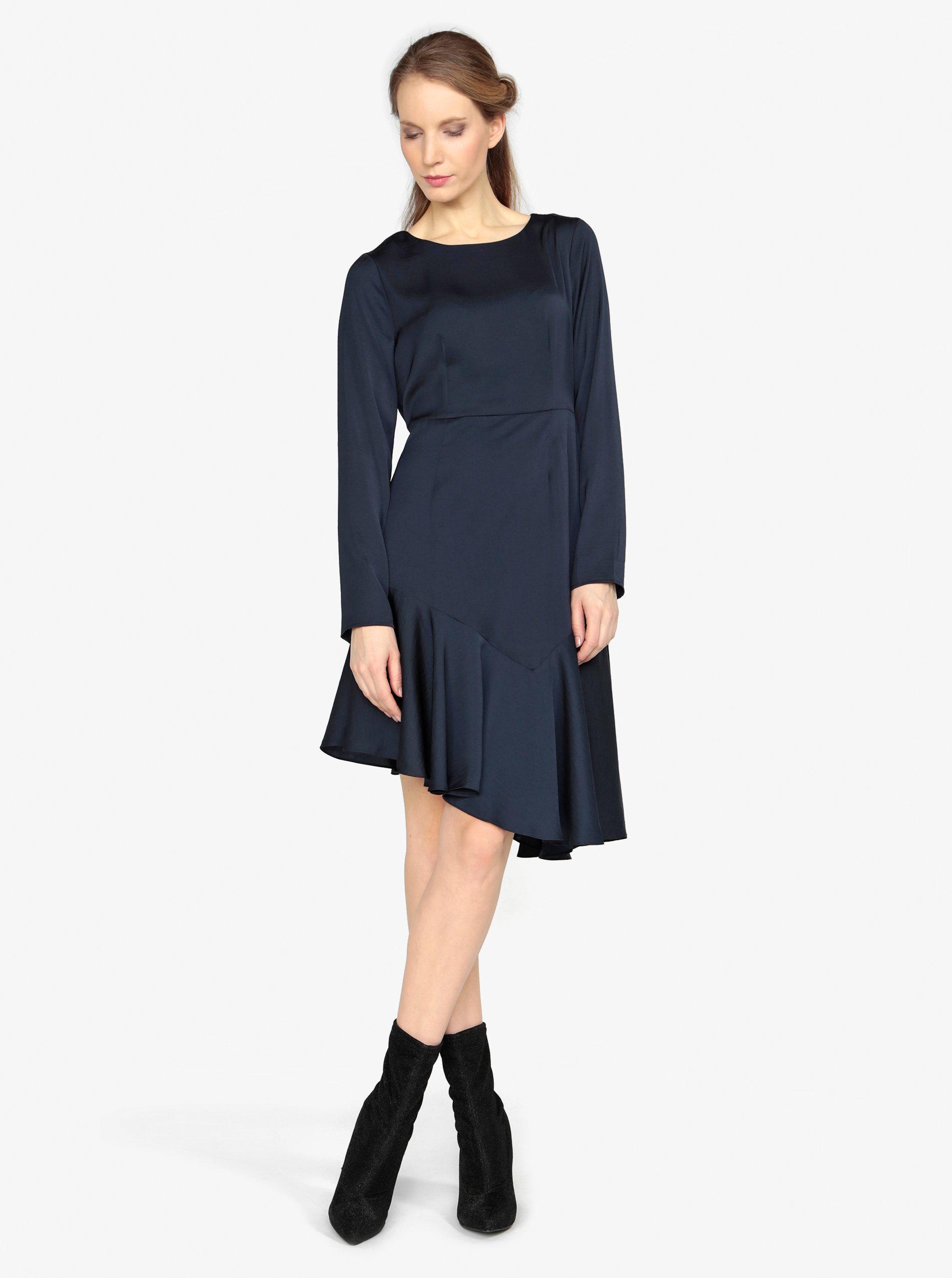 Tmavě modré asymetrické šaty s dlouhým rukávem VERO MODA Elsa ... 3acef6777d