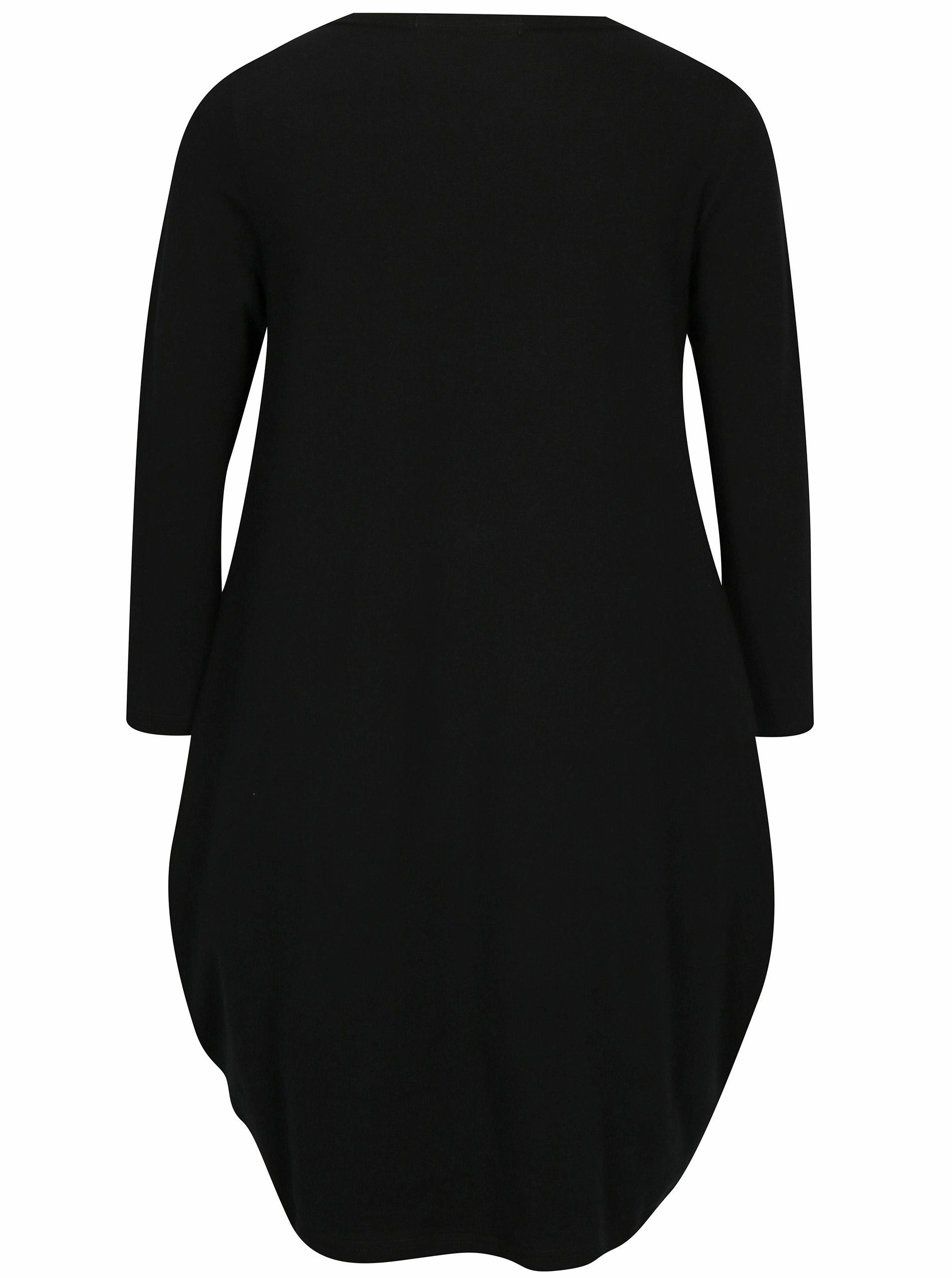 e3fe71af9067 Černé balónové šaty s potiskem a 3 4 rukávem Mikela da Luka ...