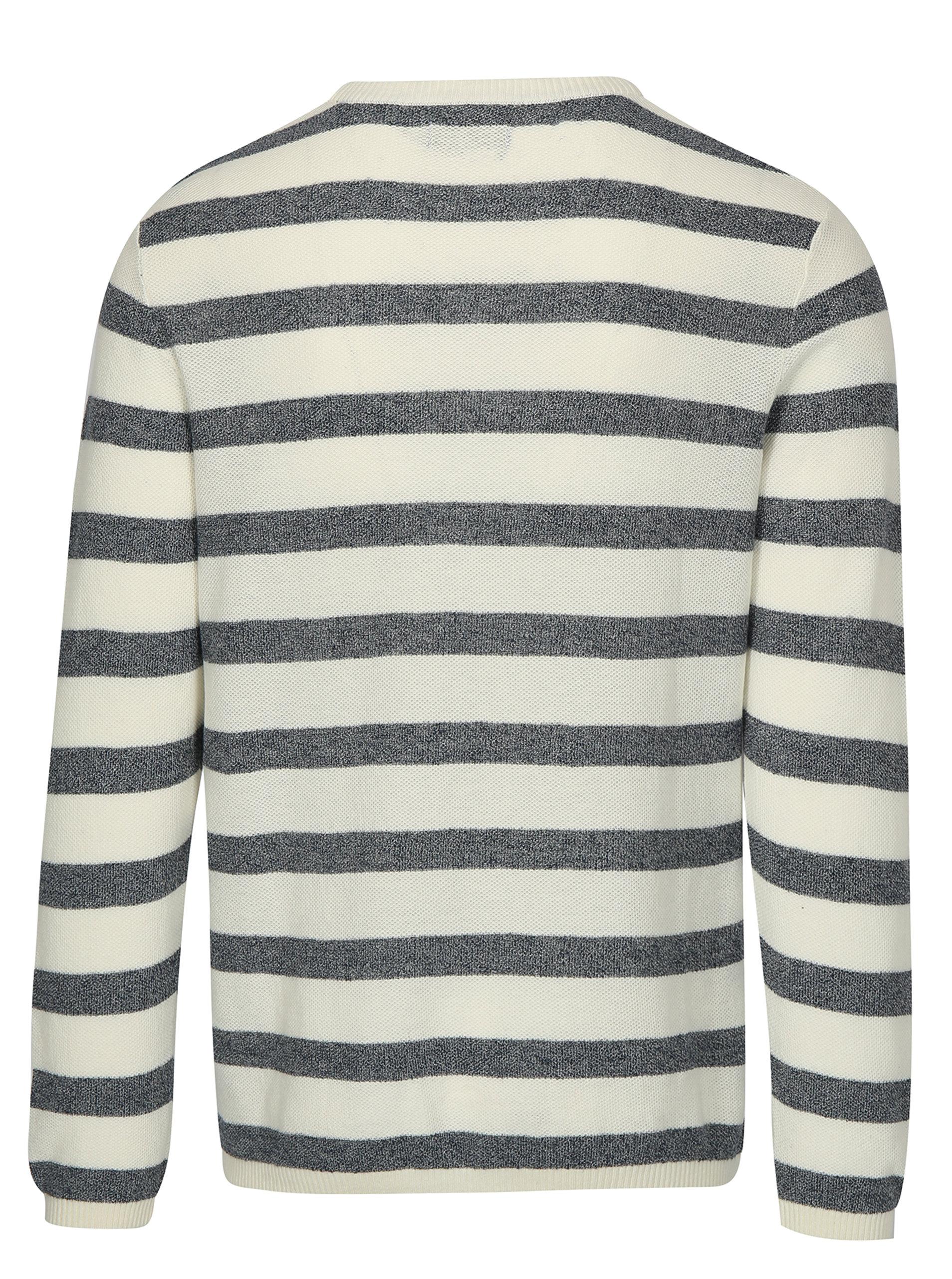 b74ba9627bdc Modro-krémový pruhovaný sveter s prímesou ľanu Jack   Jones Originals  Orlito ...