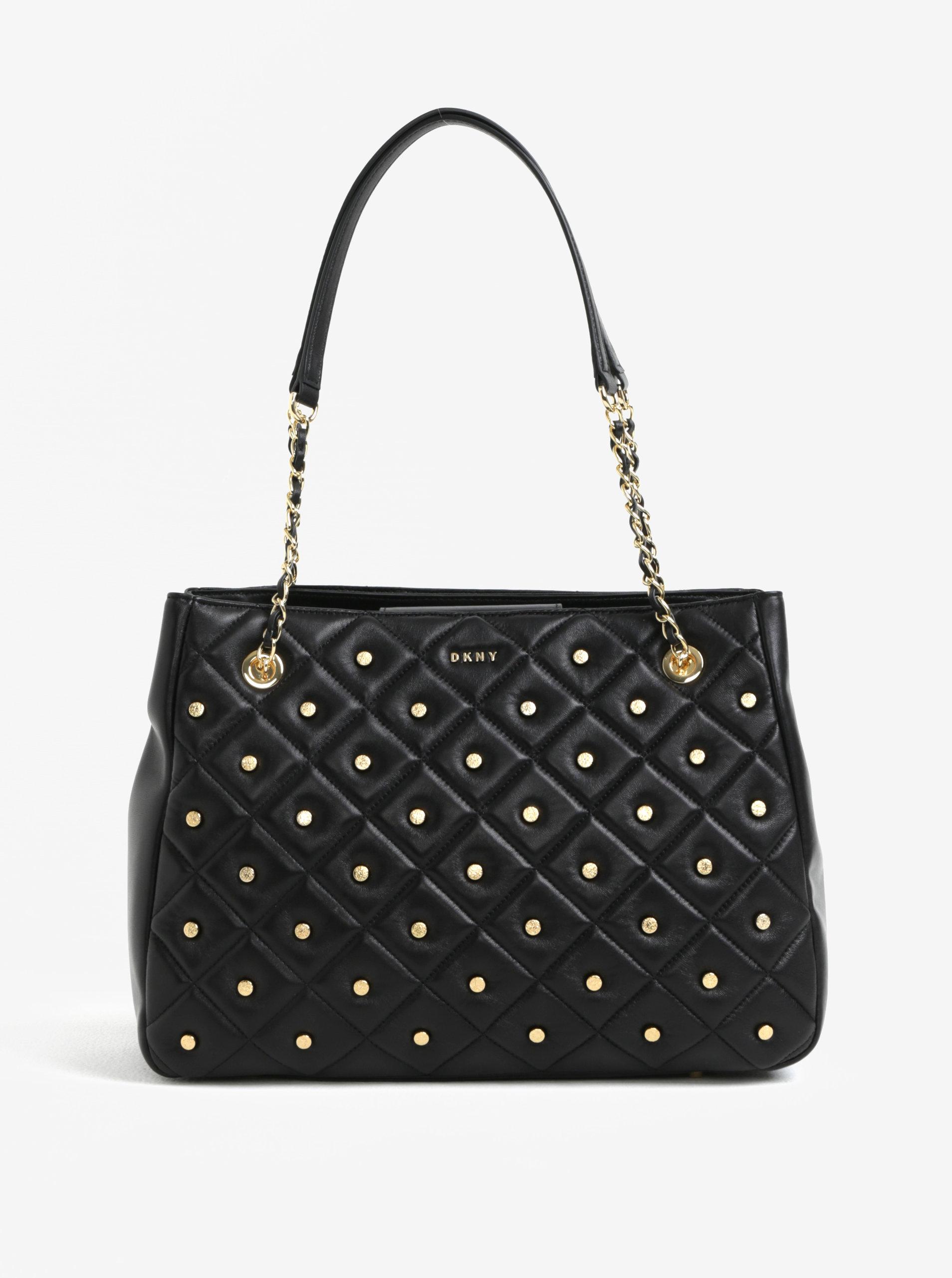 Čierna veľká kožená kabelka s detailmi v zlatej farbe DKNY Barbara ... 1612bf254b