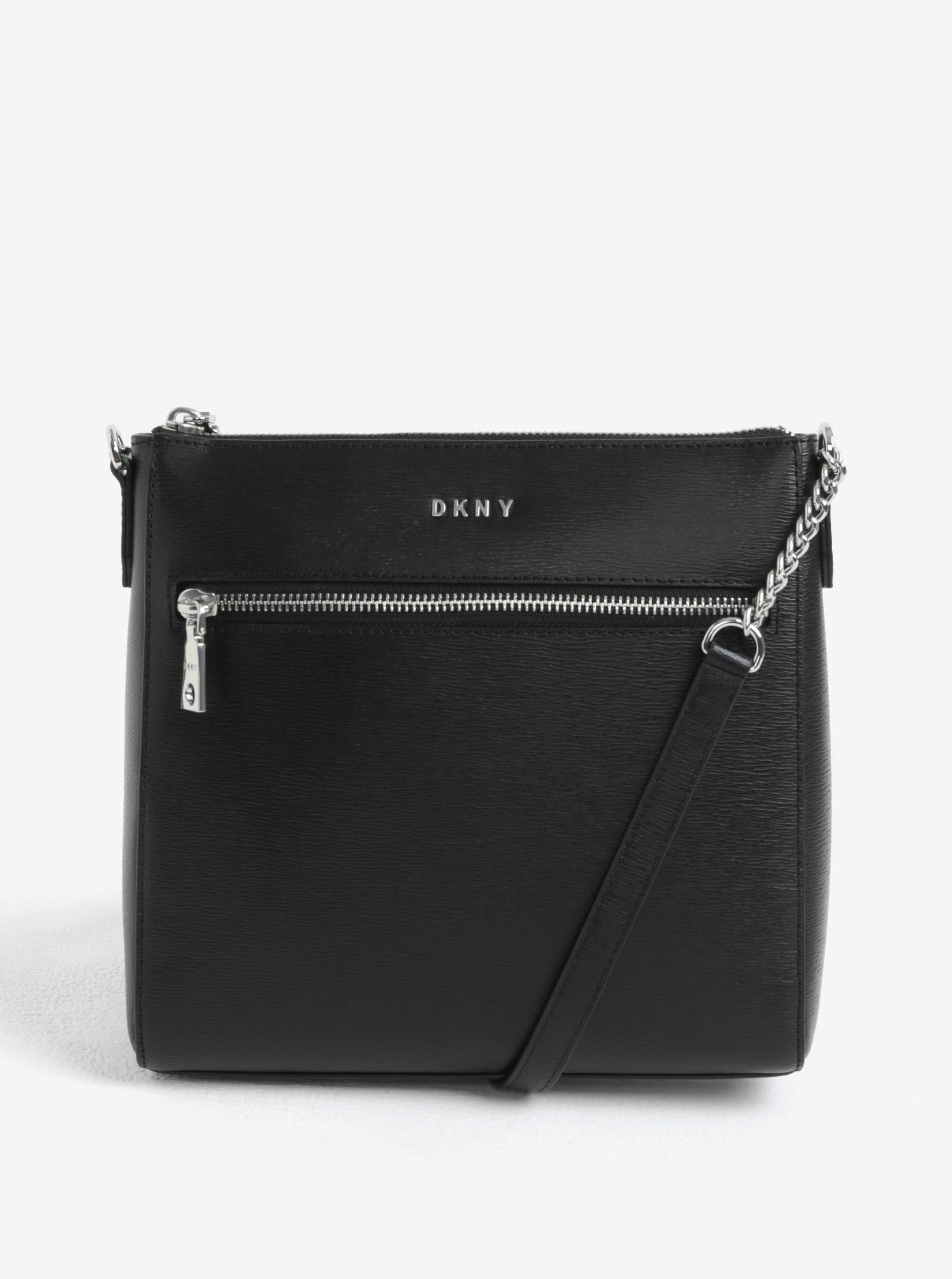 Čierna kožená crossbody kabelka s detailmi v striebornej farbe DKNY Bryant  ... 381ca9398e