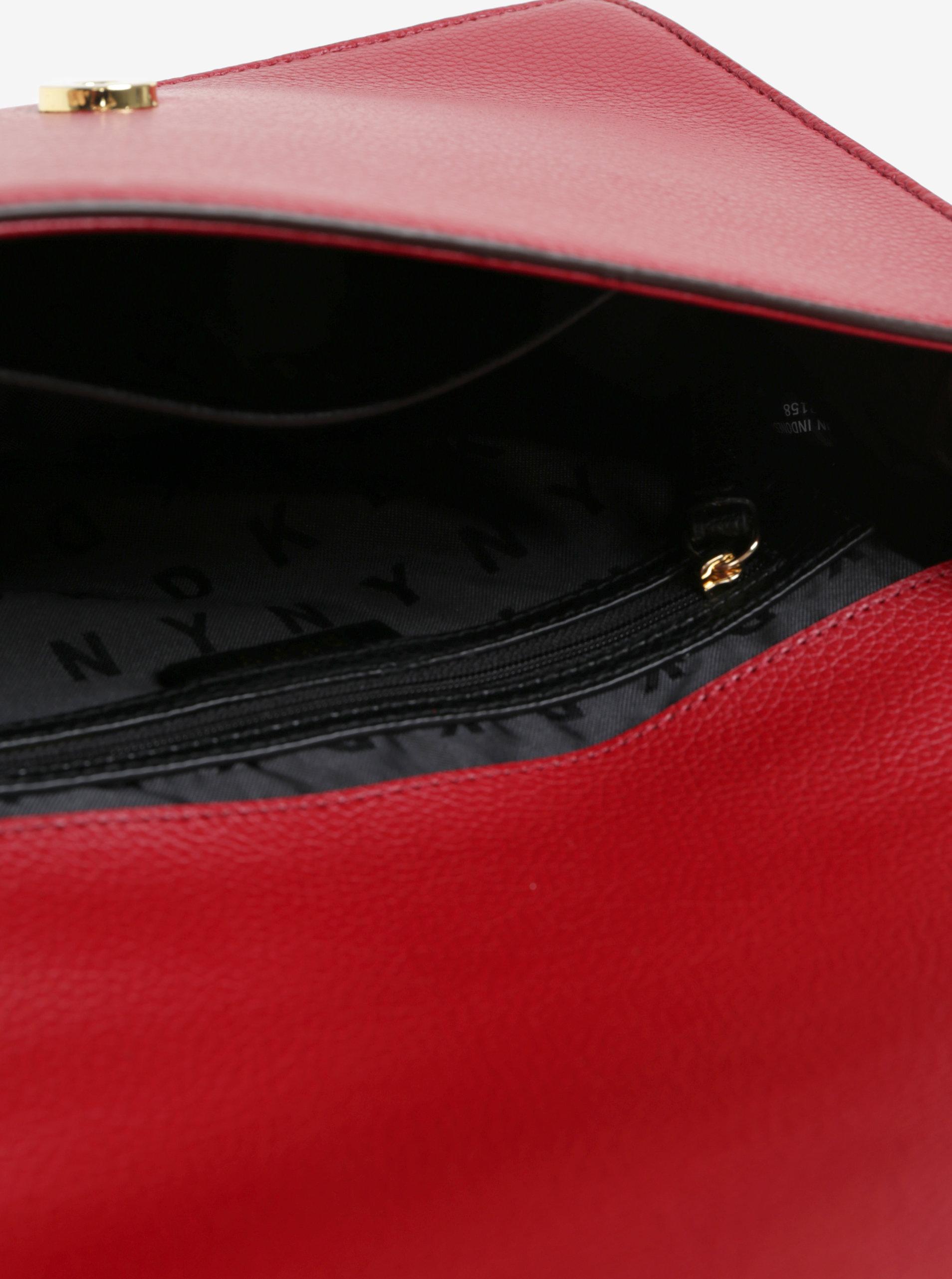 Červená kožená crossbody kabelka s detaily ve zlaté barvě DKNY Elissa ... 6f0f96ee7b