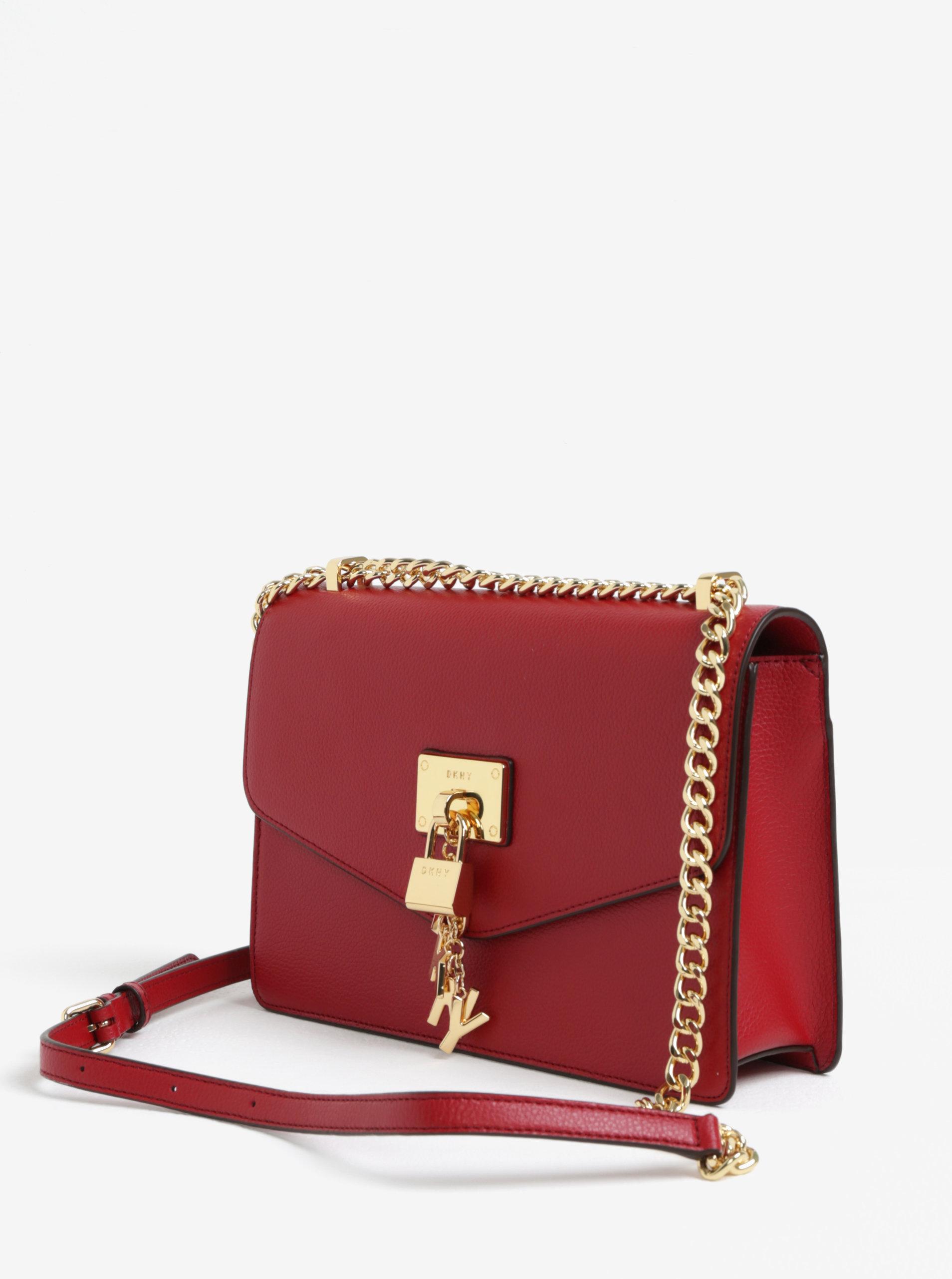 Červená kožená crossbody kabelka s detailmi v zlatej farbe DKNY Elissa ... 304a4bb7a2