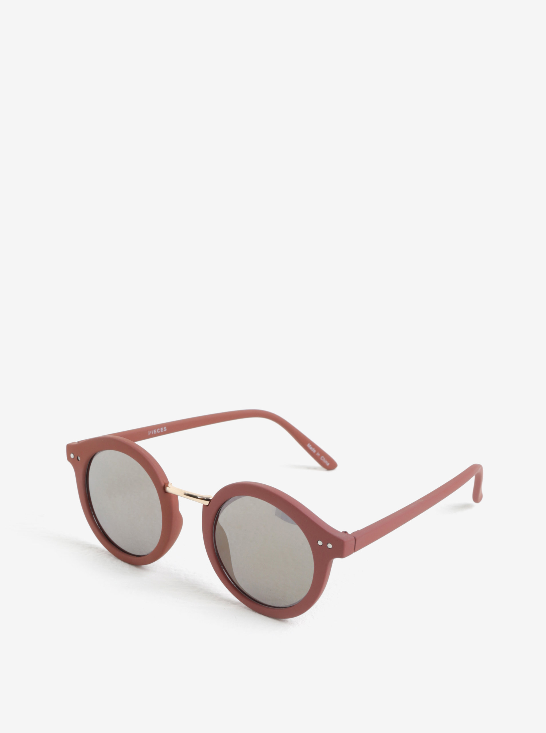 Světle růžové kulaté sluneční brýle Pieces Ino