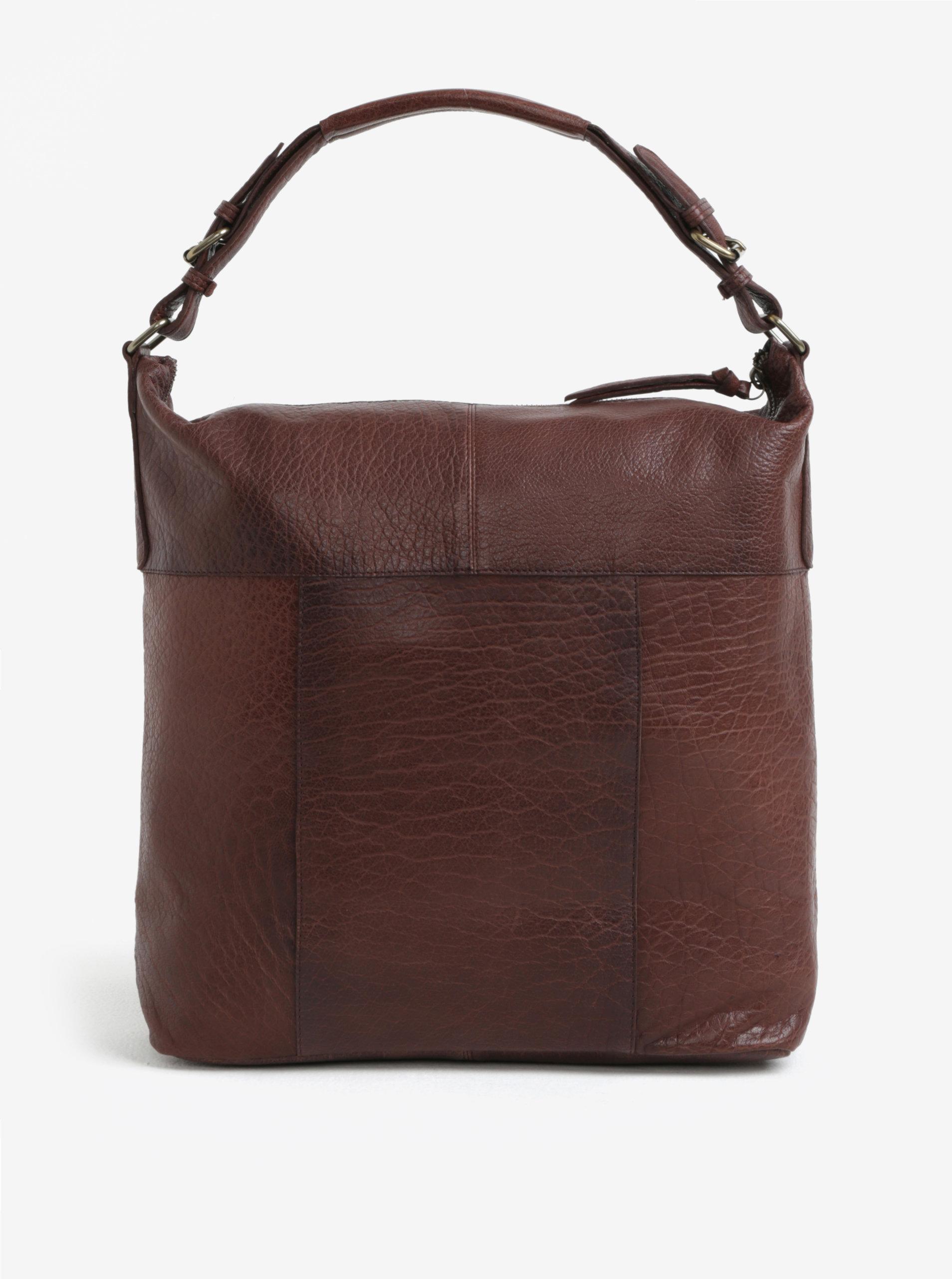 Tmavě hnědá velká kožená kabelka Pieces Ida ... eeb7341f874