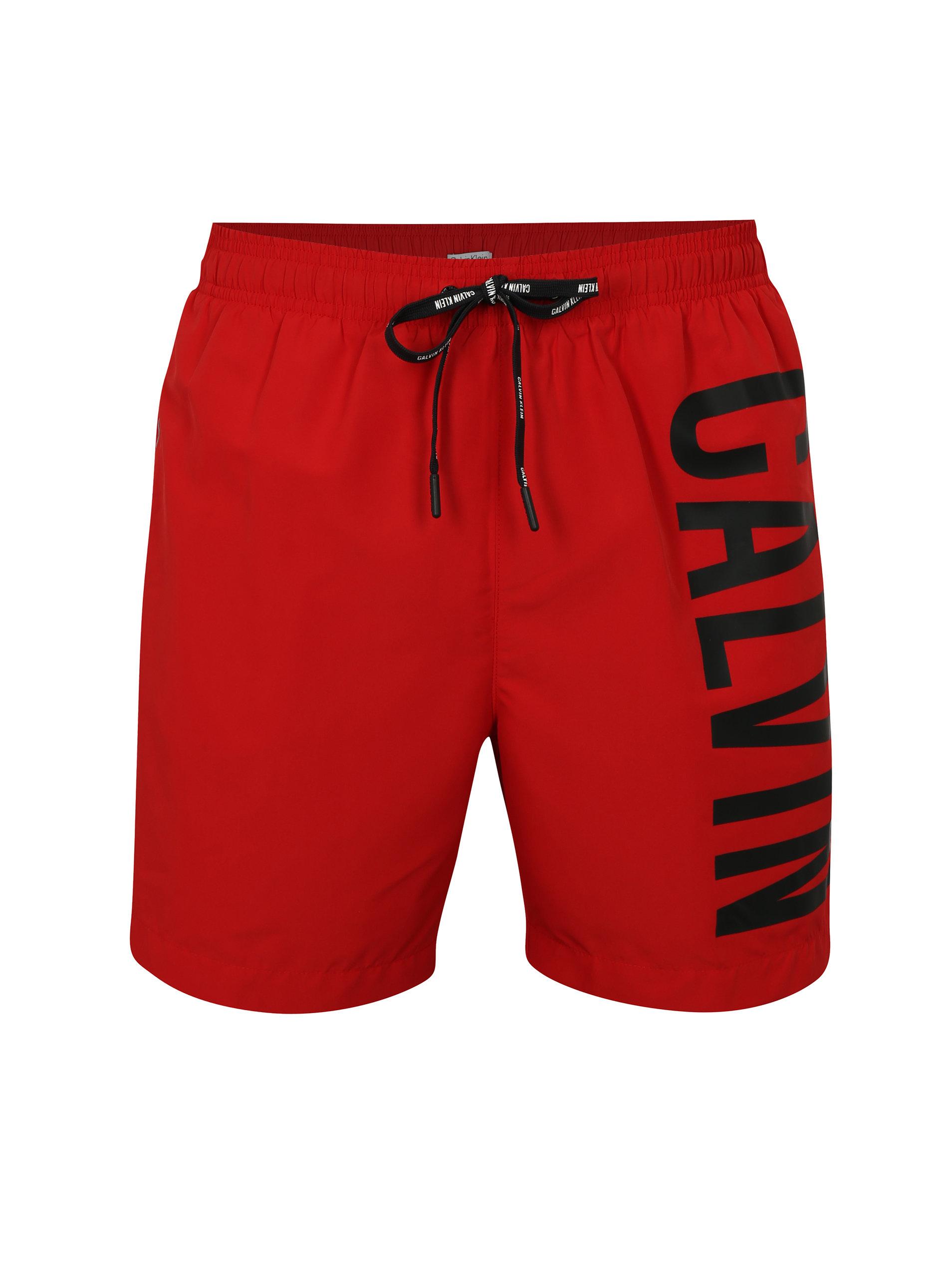 17cf43cbf43c2 Pantaloni scurti de baie rosii cu print pentru barbati - Calvin Klein  Underwear ...