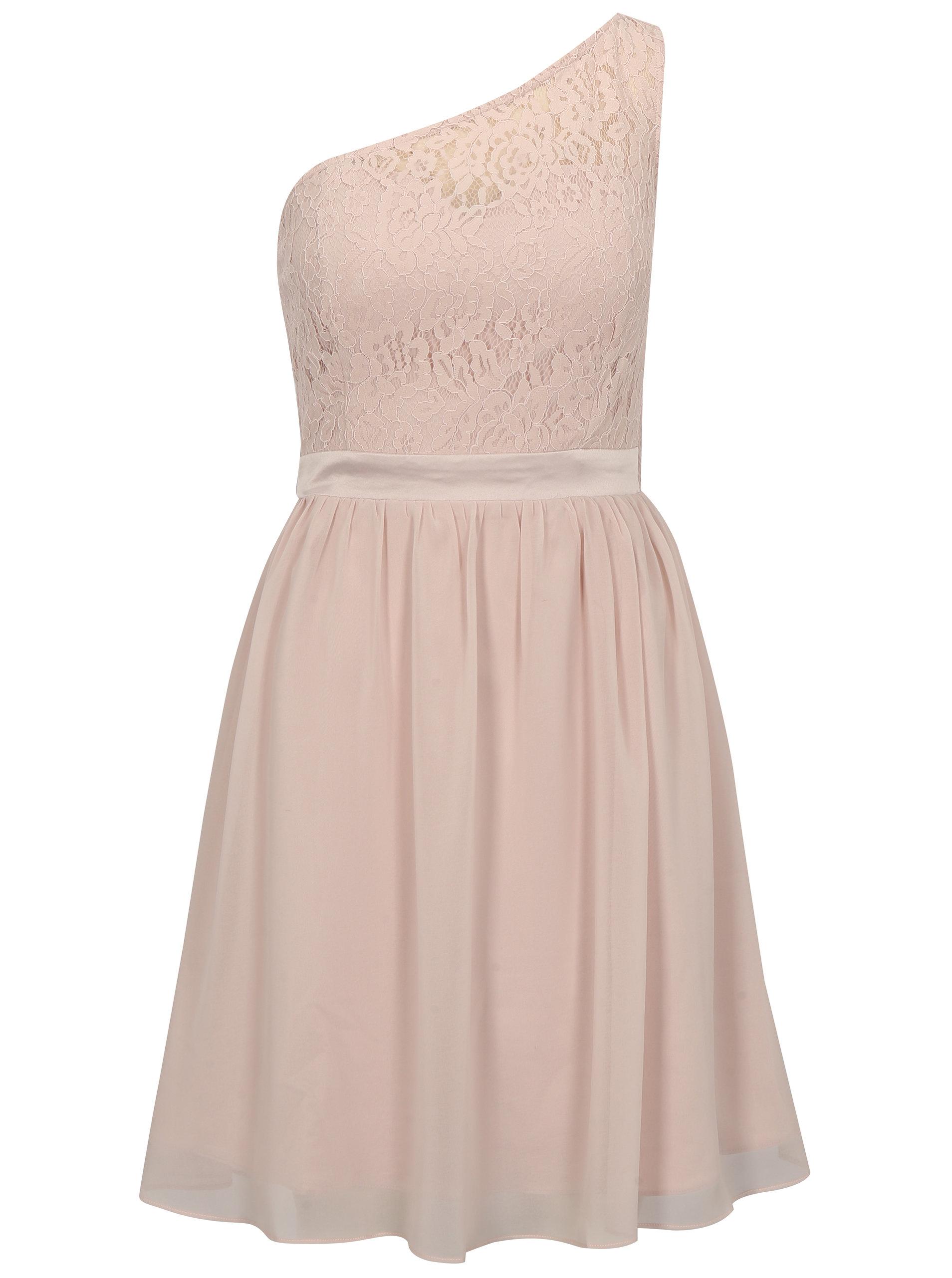 391422f0c388 Světle růžové šaty na jedno rameno Dorothy Perkins ...