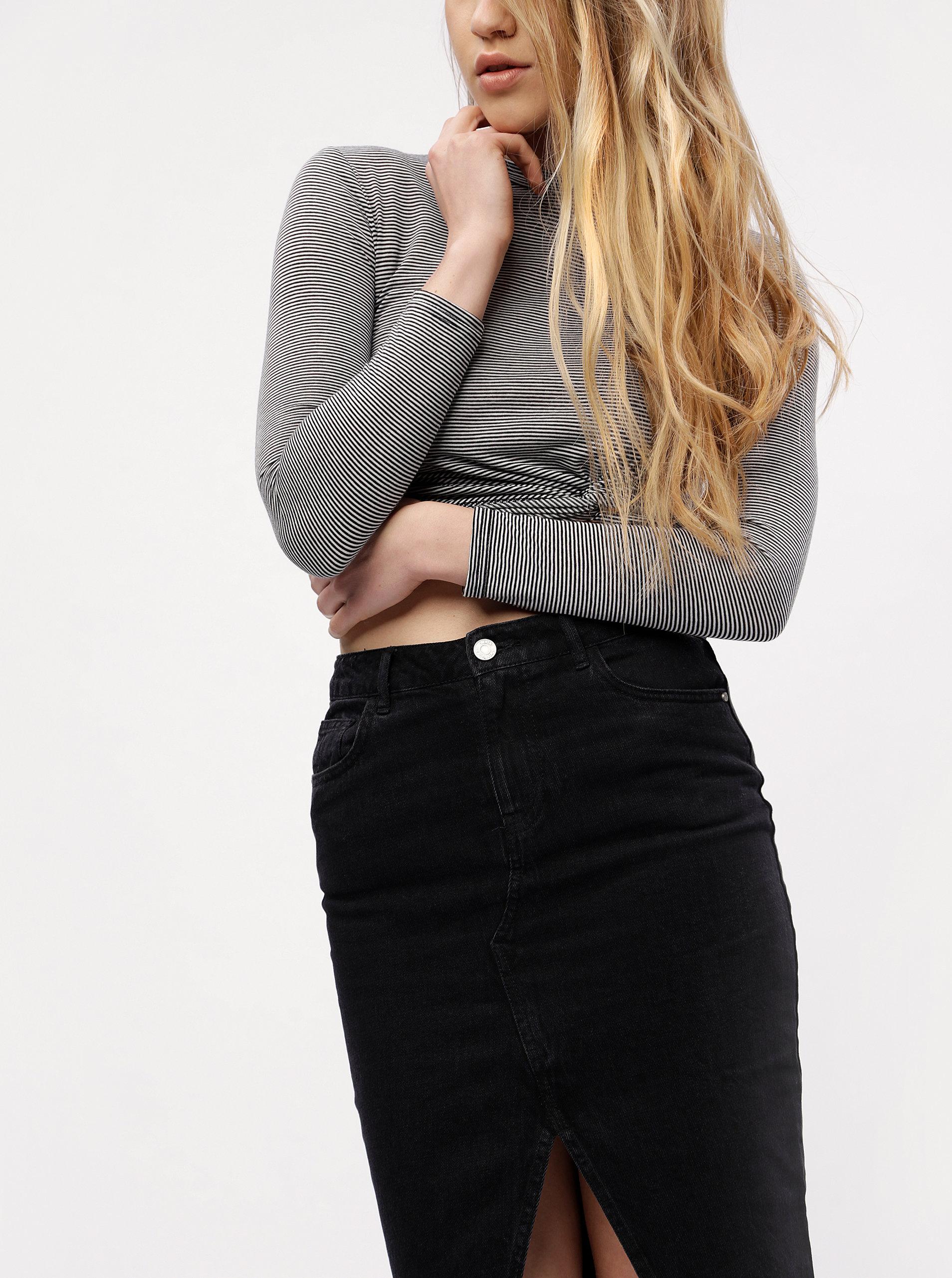 0ef1b55d66b1 Čierna rifľová puzdrová sukňa s rozparkom MISSGUIDED ...