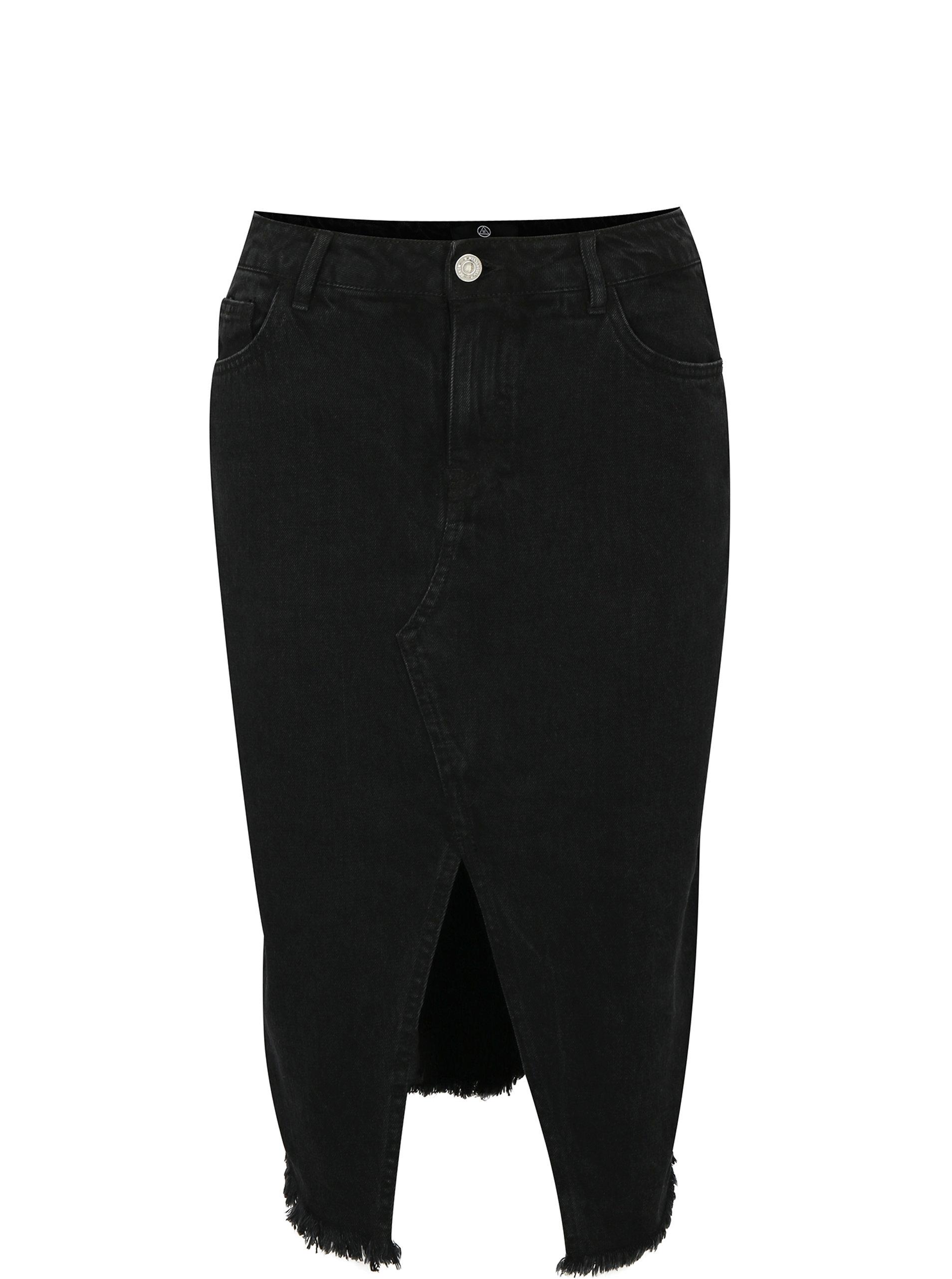 Černá džínová pouzdrová sukně s rozparkem MISSGUIDED ... 283c5e45f3