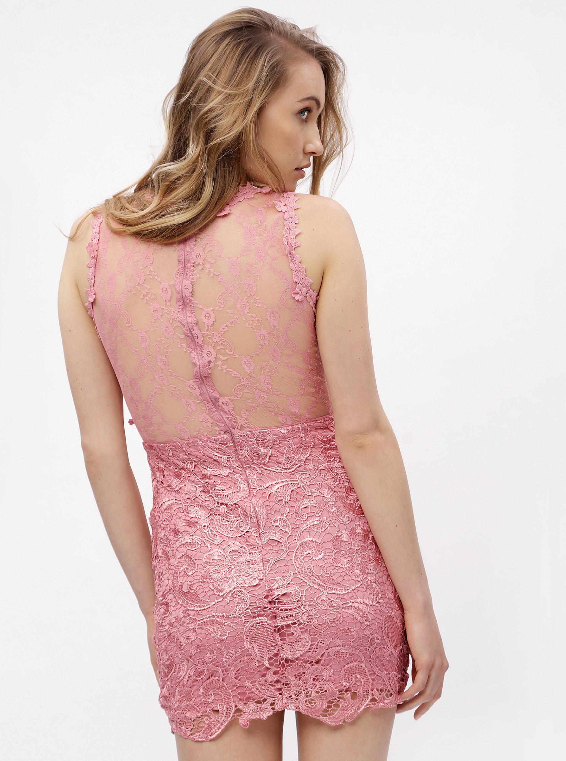98b7caad3248 Ružové čipkované šaty MISSGUIDED ...
