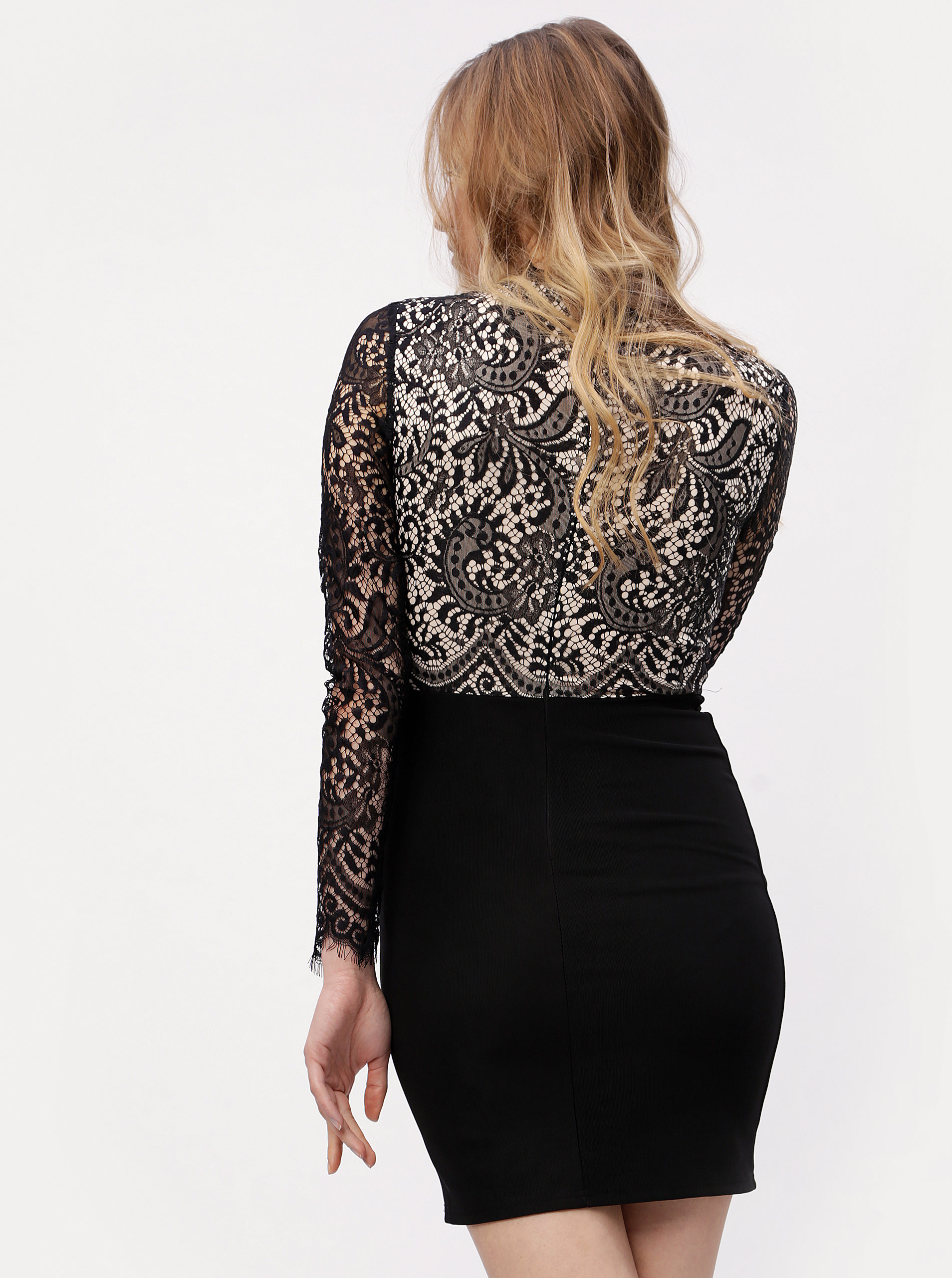 Béžovo-černé krajkové šaty s dlouhým rukávem MISSGUIDED ... a1f158a242