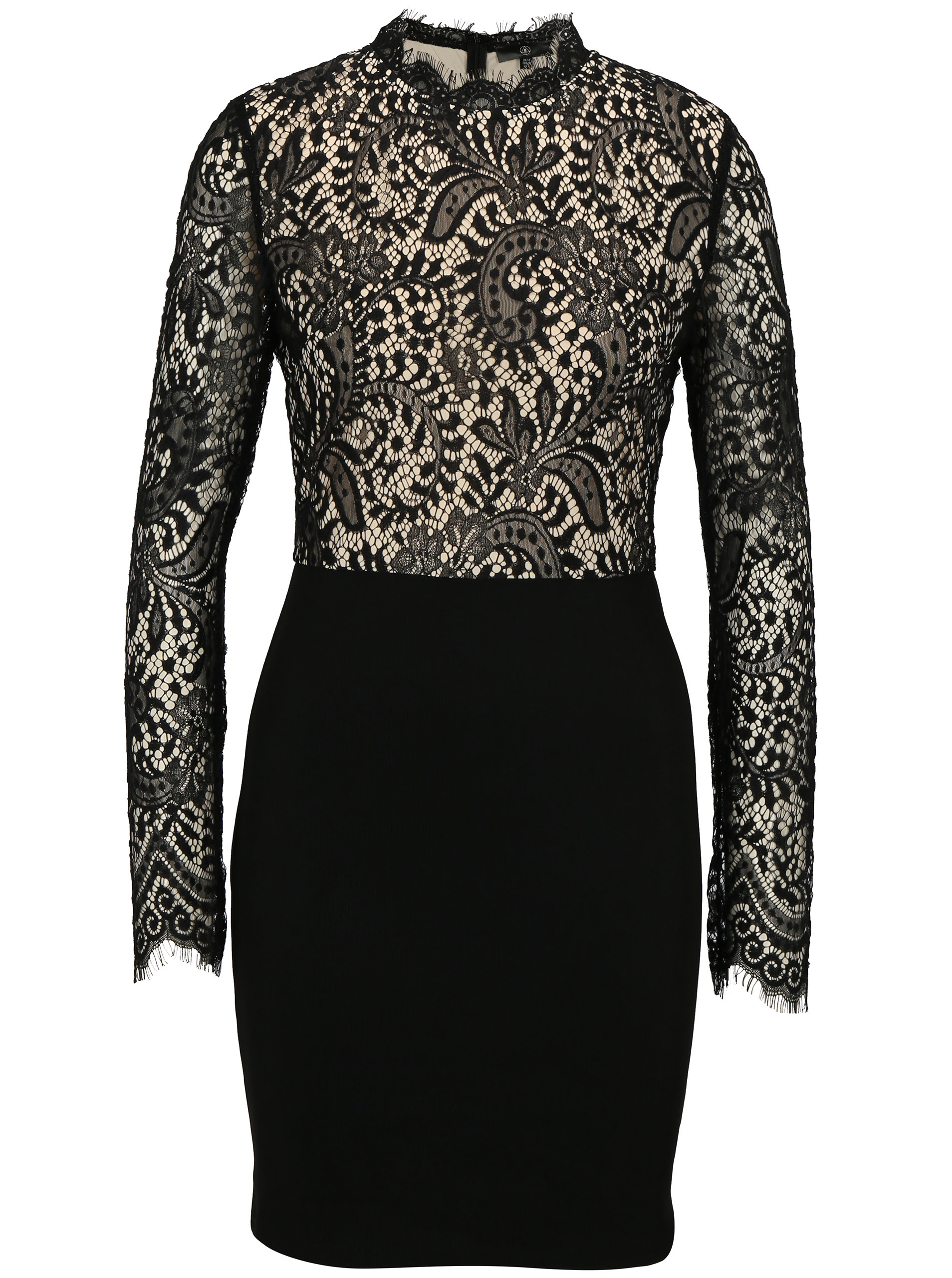 Béžovo-černé krajkové šaty s dlouhým rukávem MISSGUIDED ... 7cfc426ef2
