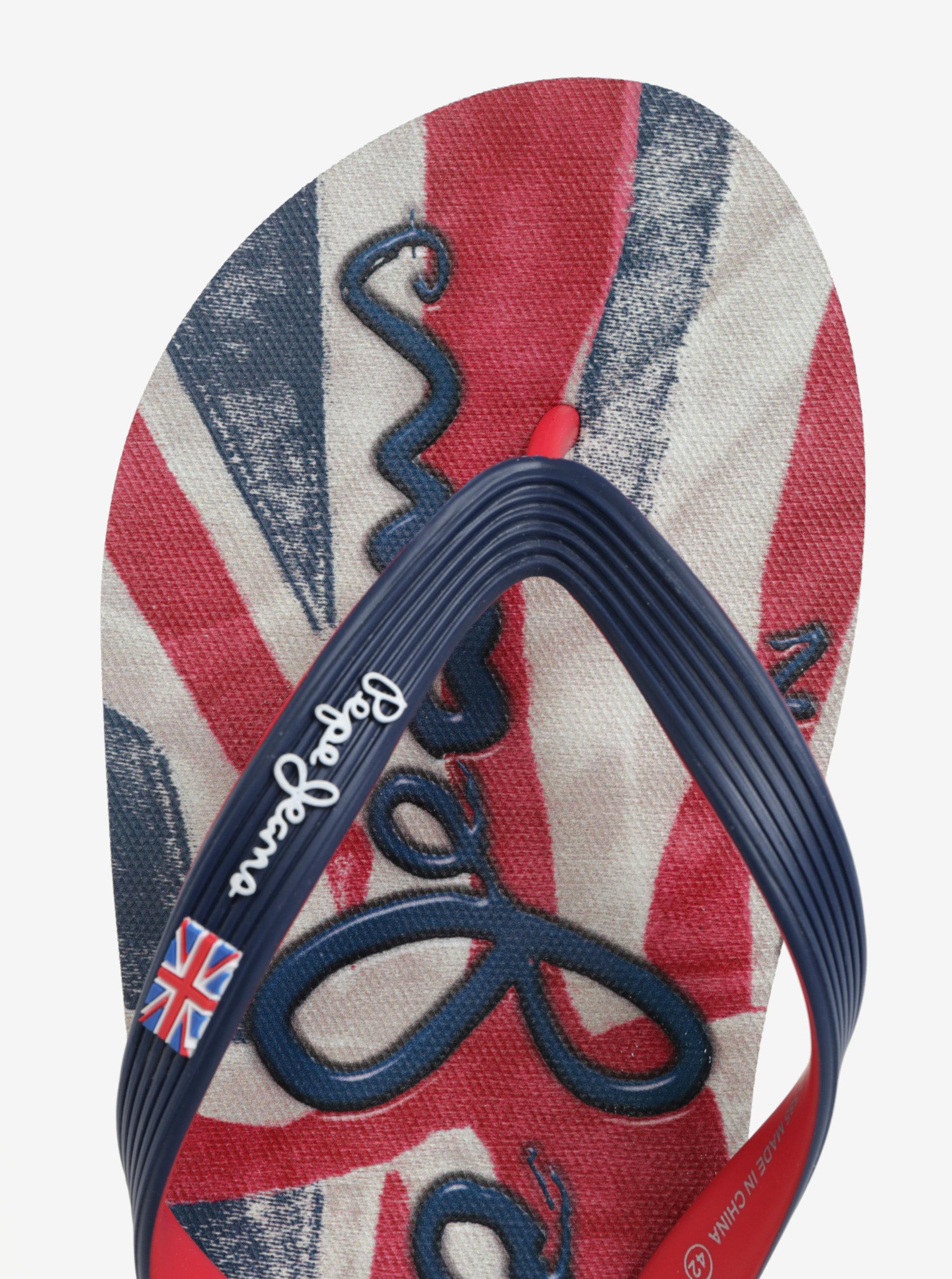 cd33aceecd75 Červeno-modré pánske žabky Pepe Jeans Hawi flag ...