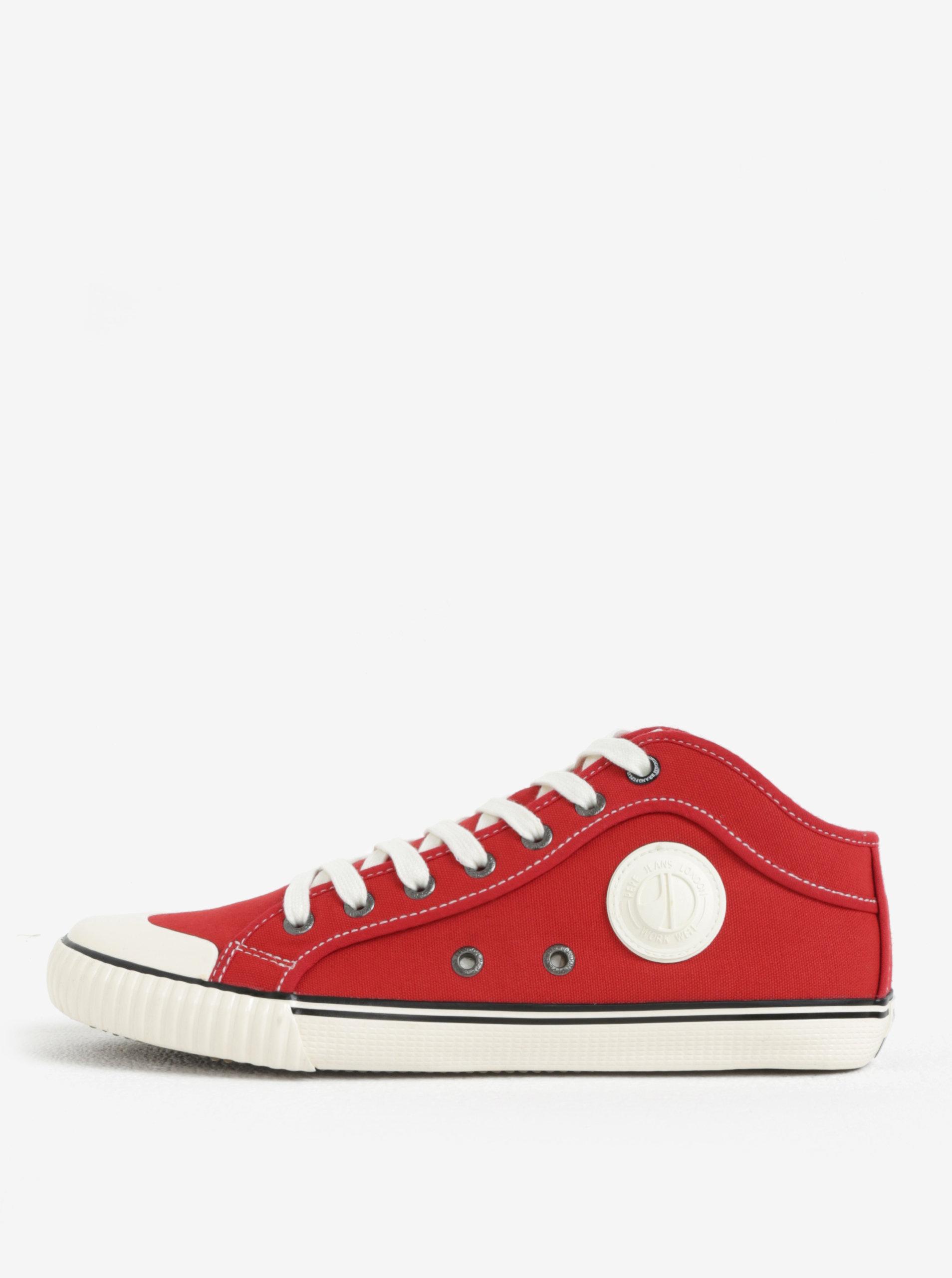 Bílo-červené pánské plátěné tenisky Pepe Jeans Industry ... 784ca923254