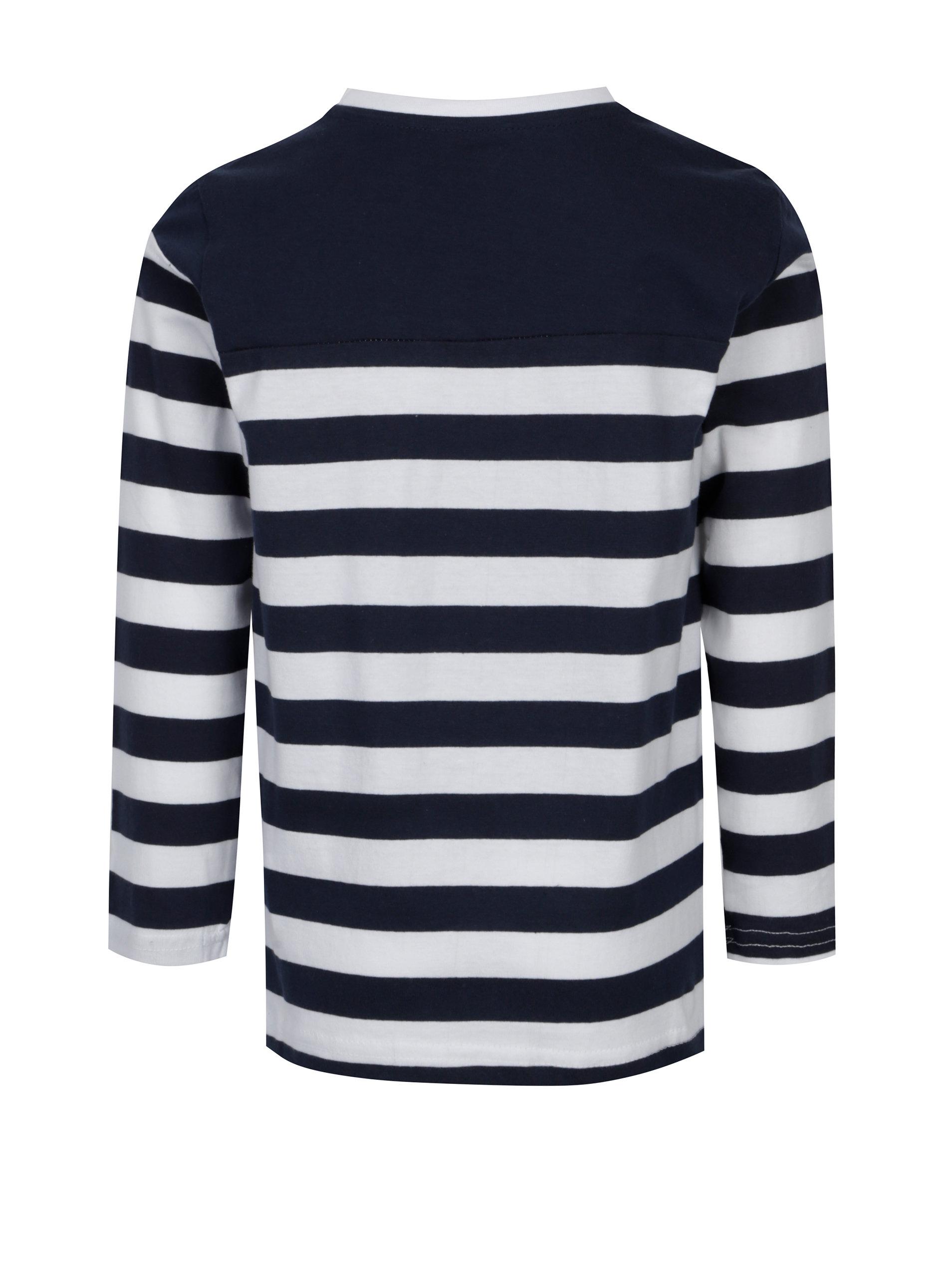 Bílo-modré klučičí pruhované tričko s dlouhým rukávem 5.10.15.  f07344f375