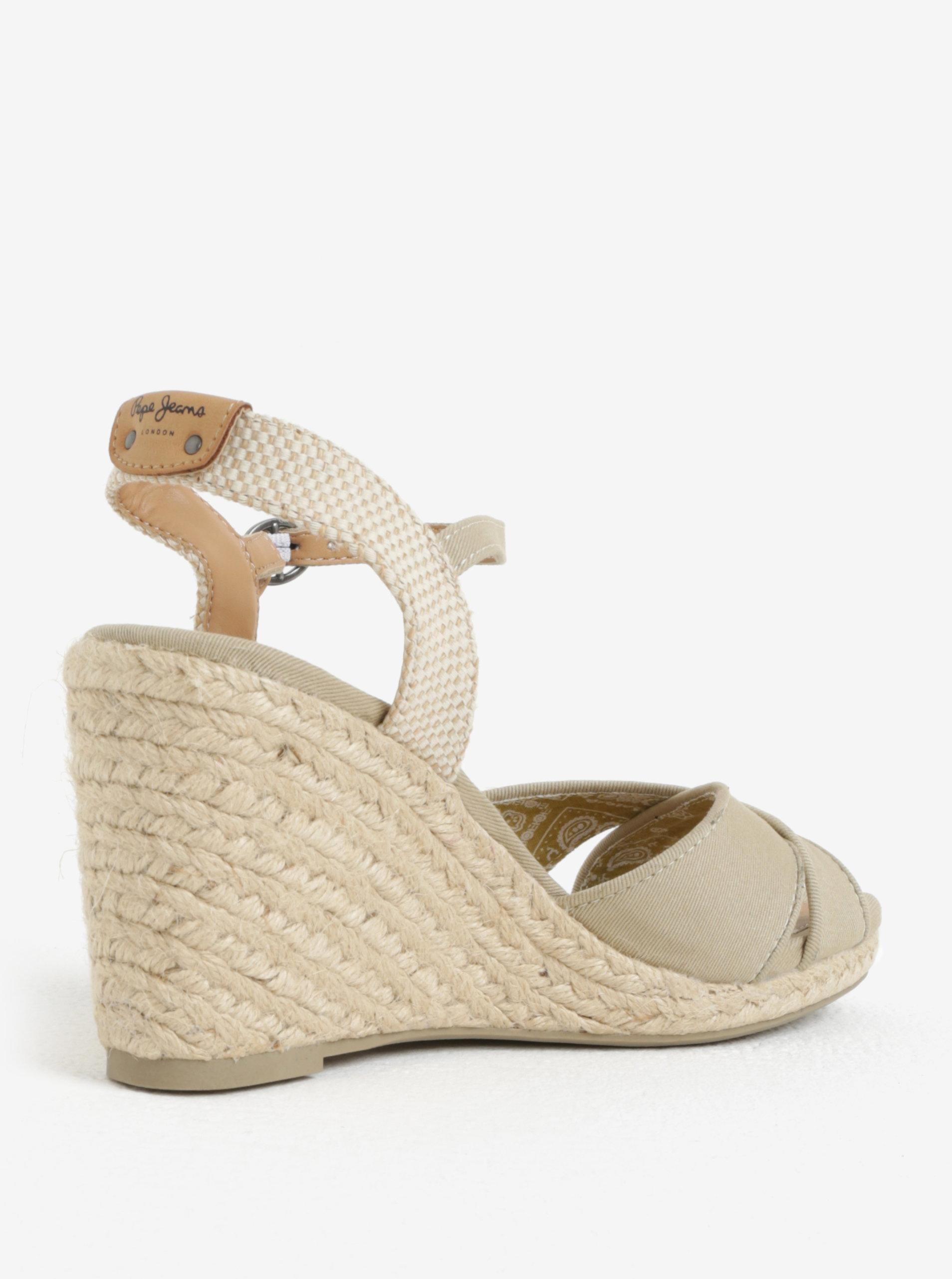 921e33327f3b Béžové dámske sandále na klinovom podpätku Pepe Jeans Shark Basic ...