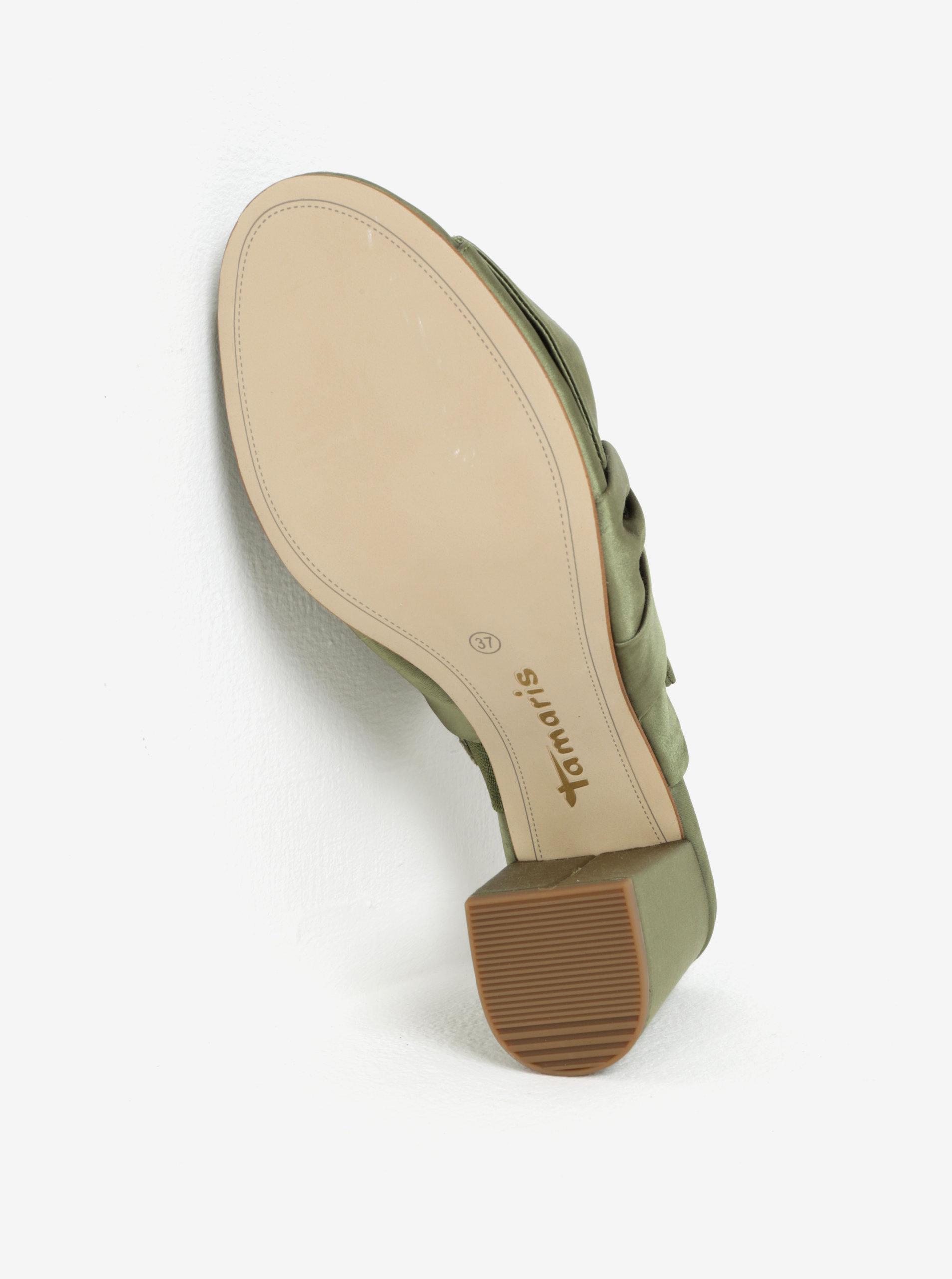Zelené pantofle s mašlí Tamaris ... 56f538c2c2e